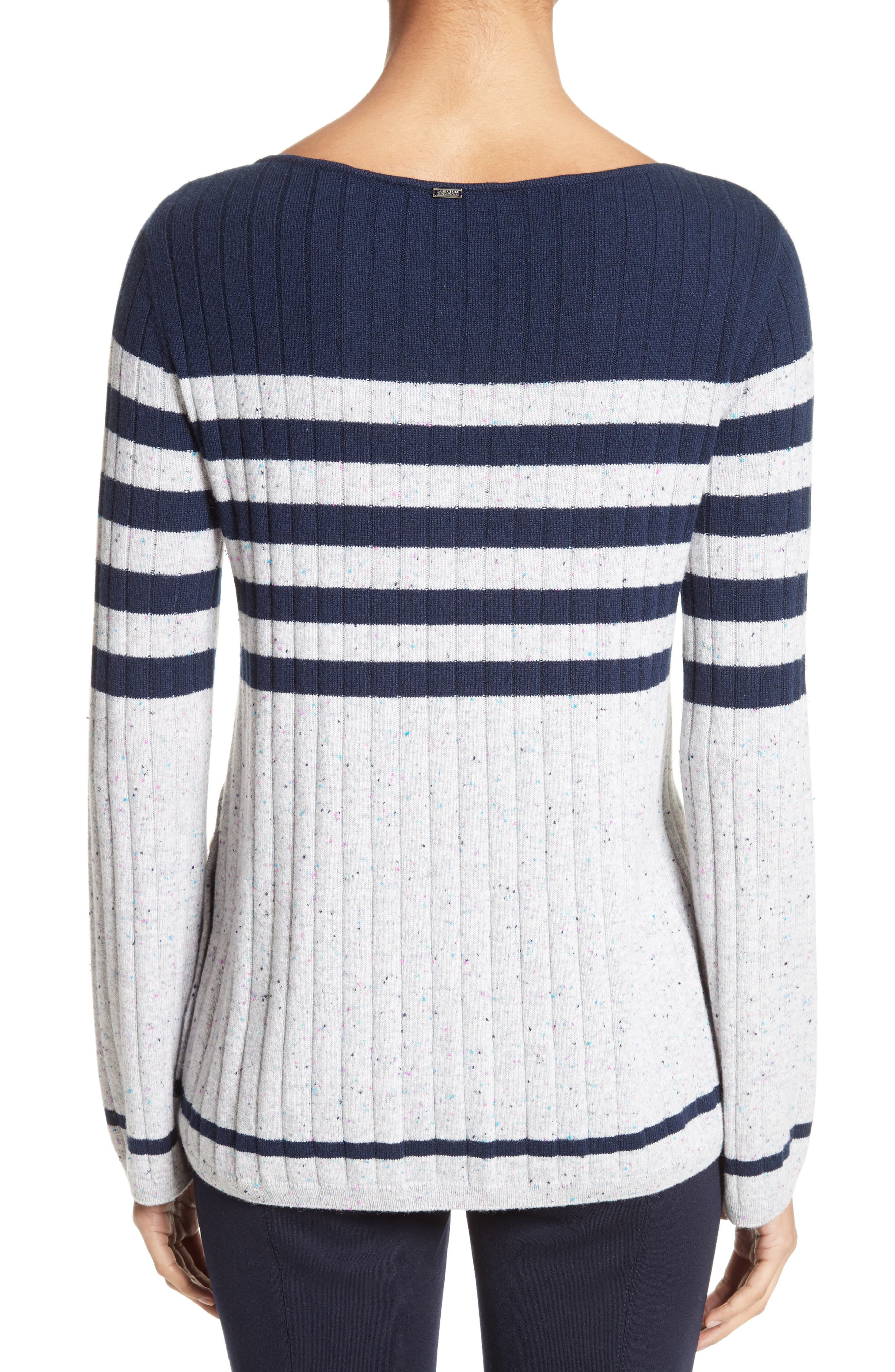 Side Button Stripe Cashmere Sweater,                             Alternate thumbnail 2, color,                             Navy/ Mica