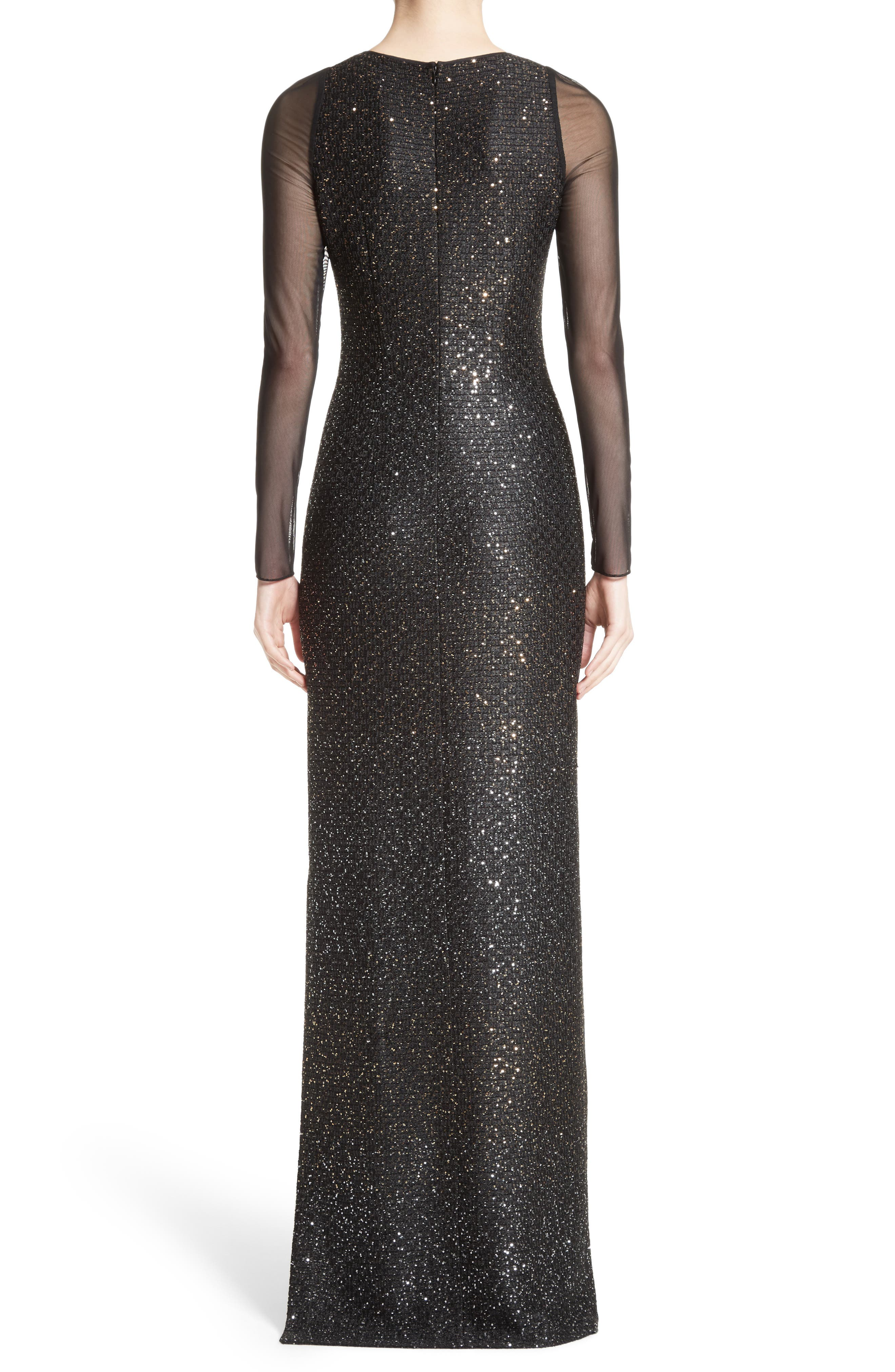 Sequin Illusion Yoke Gown,                             Alternate thumbnail 2, color,                             Caviar/Gold