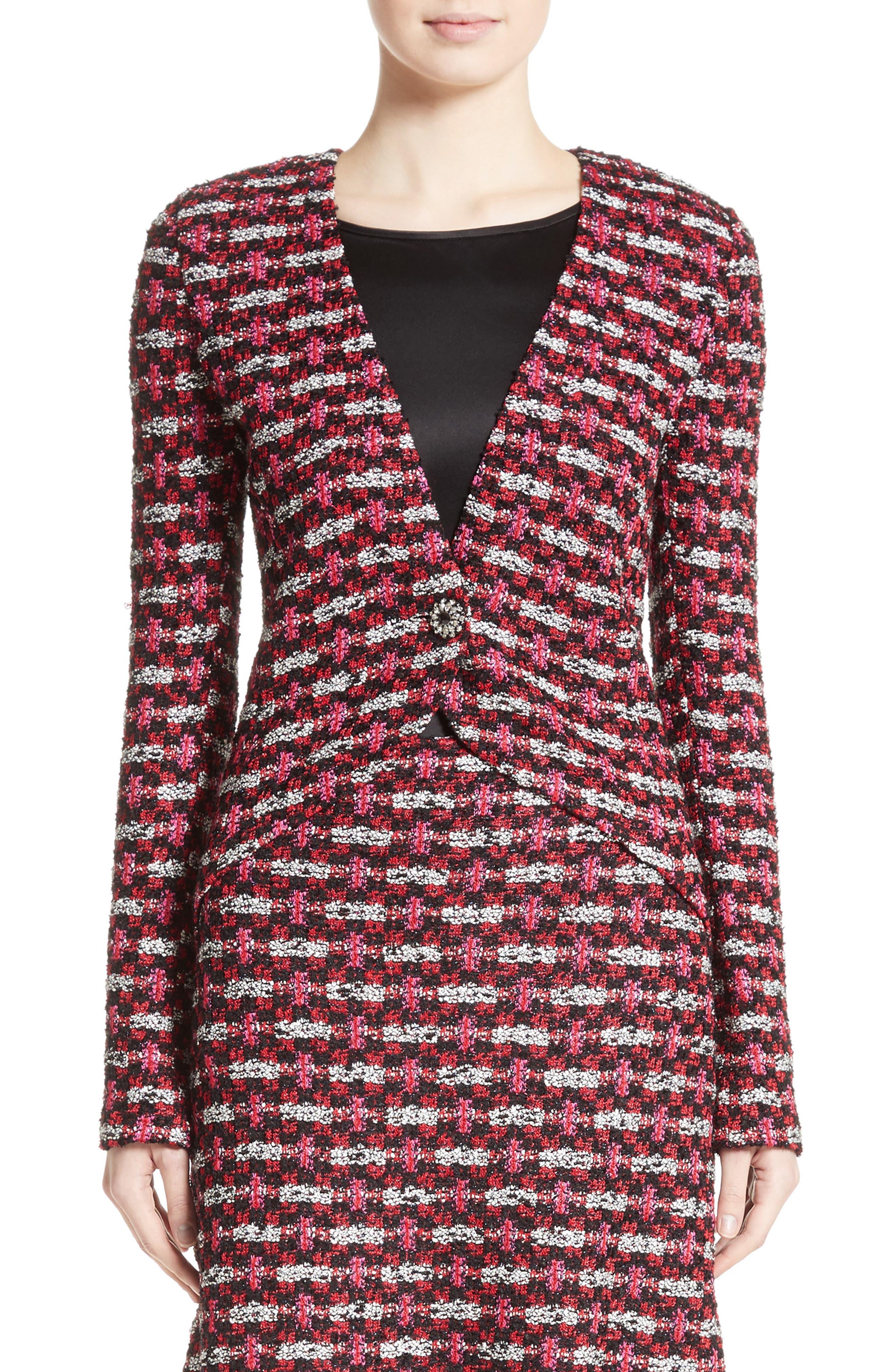 Hiran Tweed Knit Jacket,                             Main thumbnail 1, color,                             Scarlet Multi