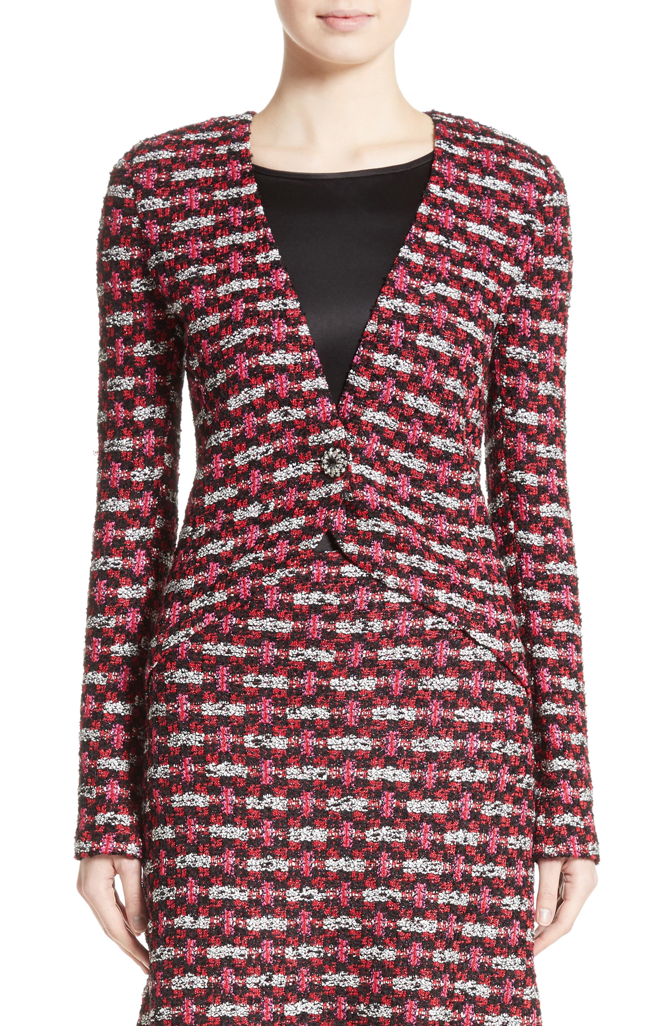 Hiran Tweed Knit Jacket,                         Main,                         color, Scarlet Multi