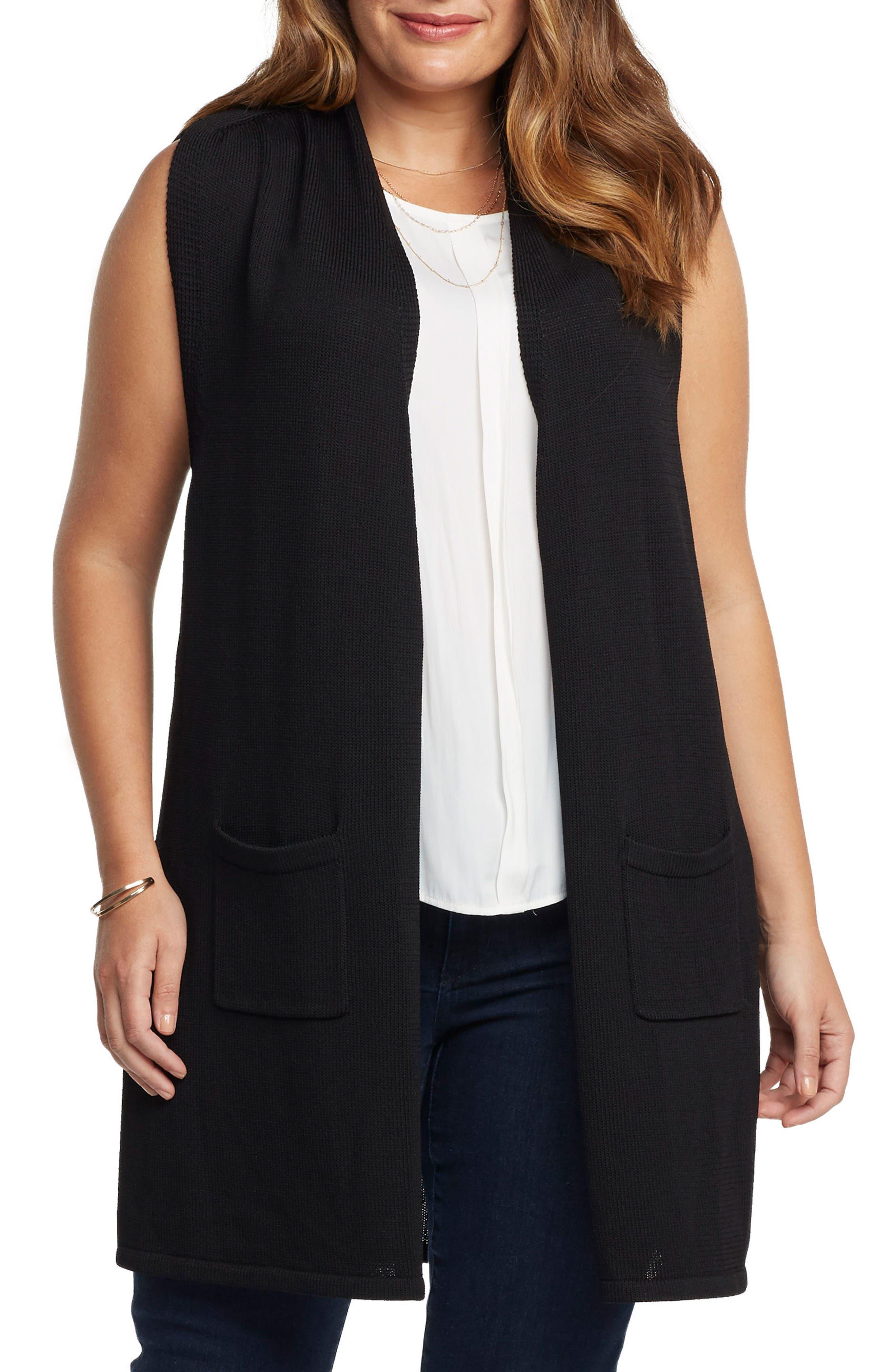 Holly Knit Open Front Vest,                             Main thumbnail 1, color,                             Black
