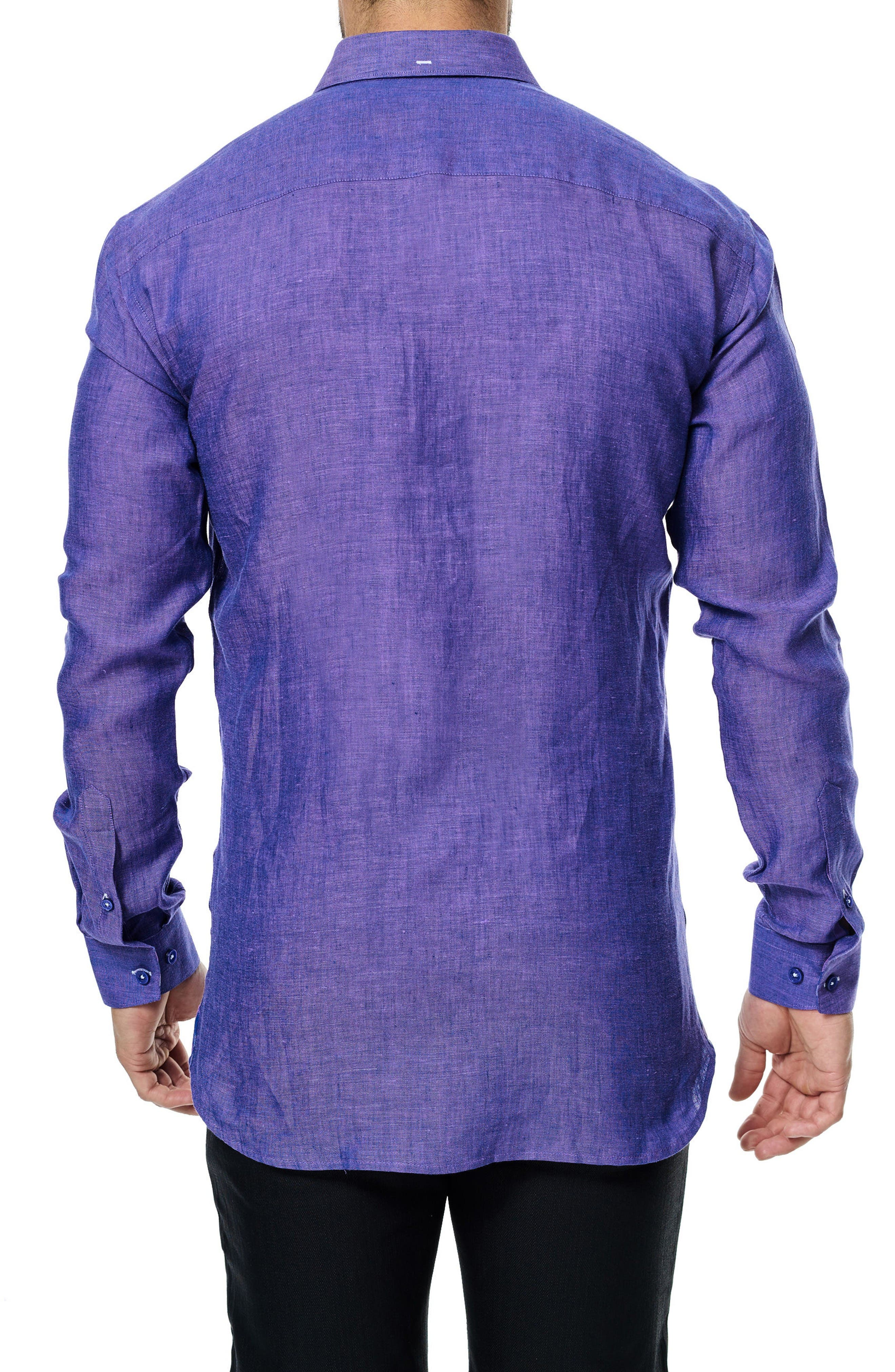 Vogue Linen Sport Shirt,                             Alternate thumbnail 2, color,                             Purple