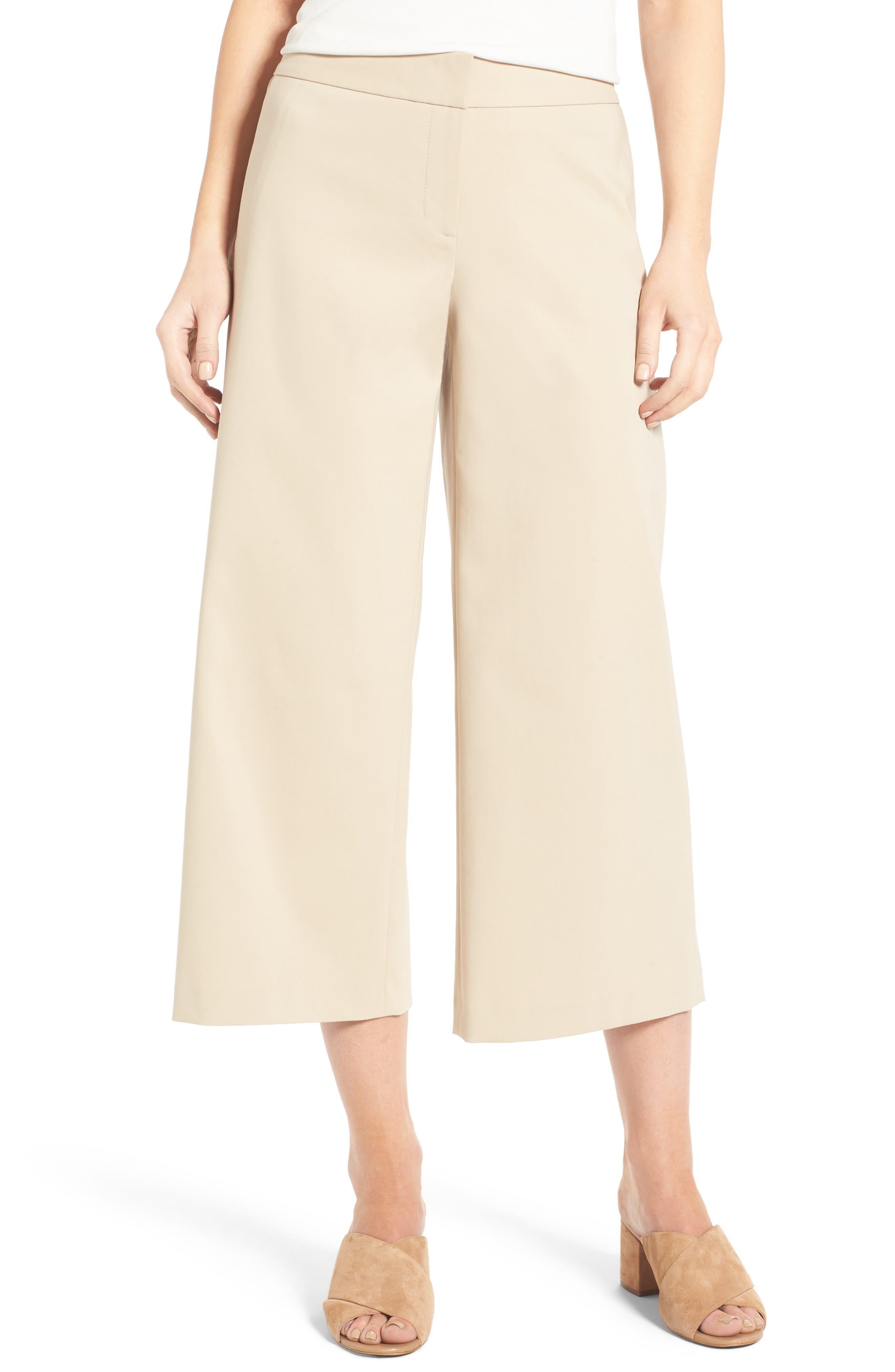 Wide Leg Crop Pants,                             Main thumbnail 1, color,                             Beige Hummus