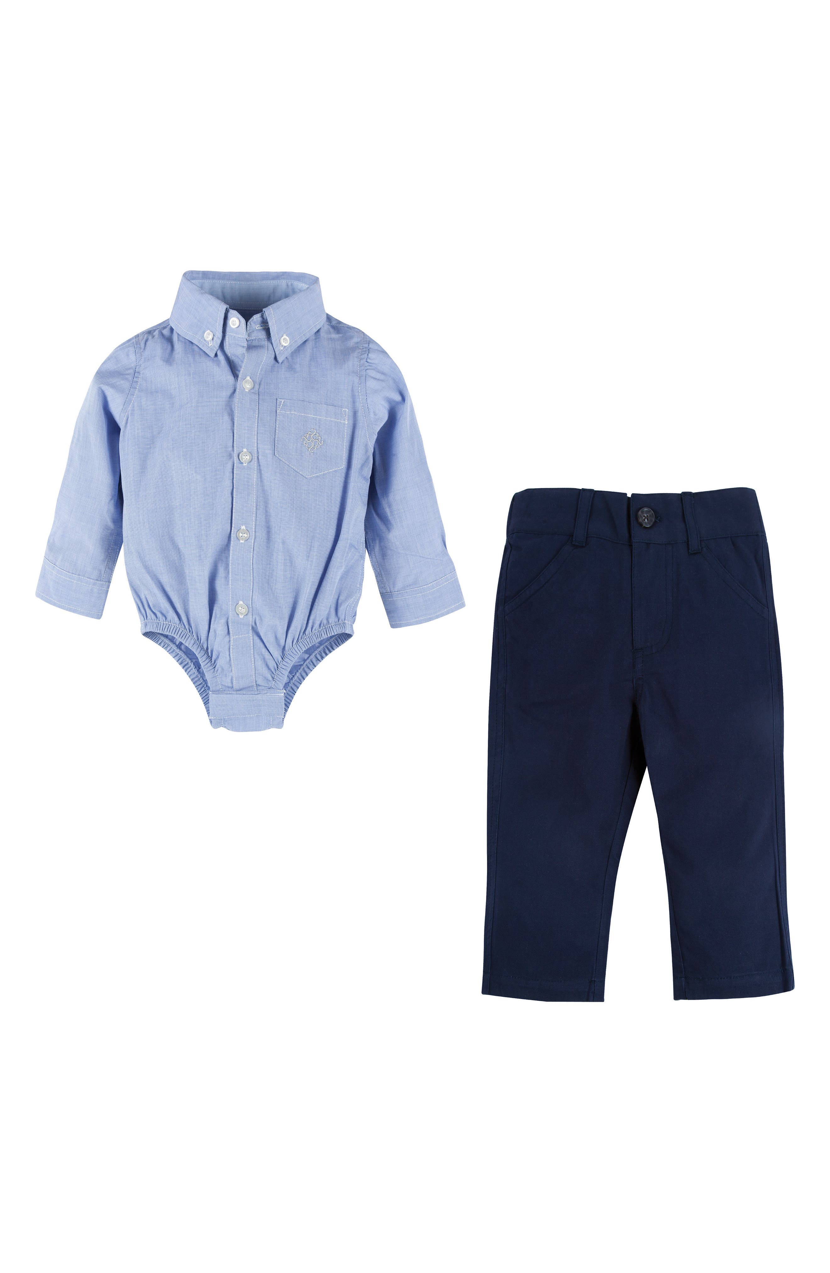 Shirtzie Chambray Bodysuit & Pants Set,                             Main thumbnail 1, color,                             Blue