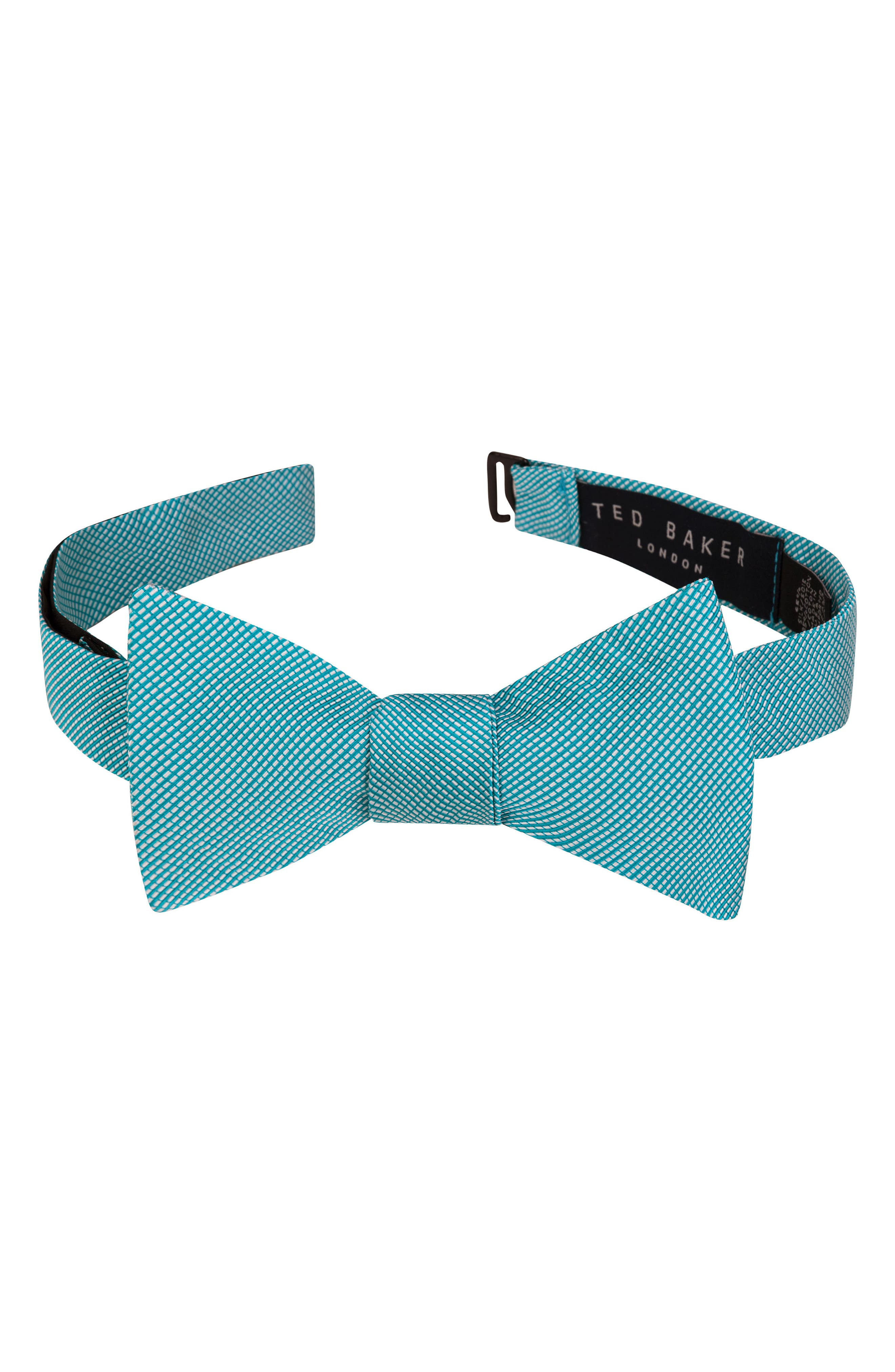 Mogador Stripe Silk & Cotton Bow Tie,                         Main,                         color, Aqua/ Teal