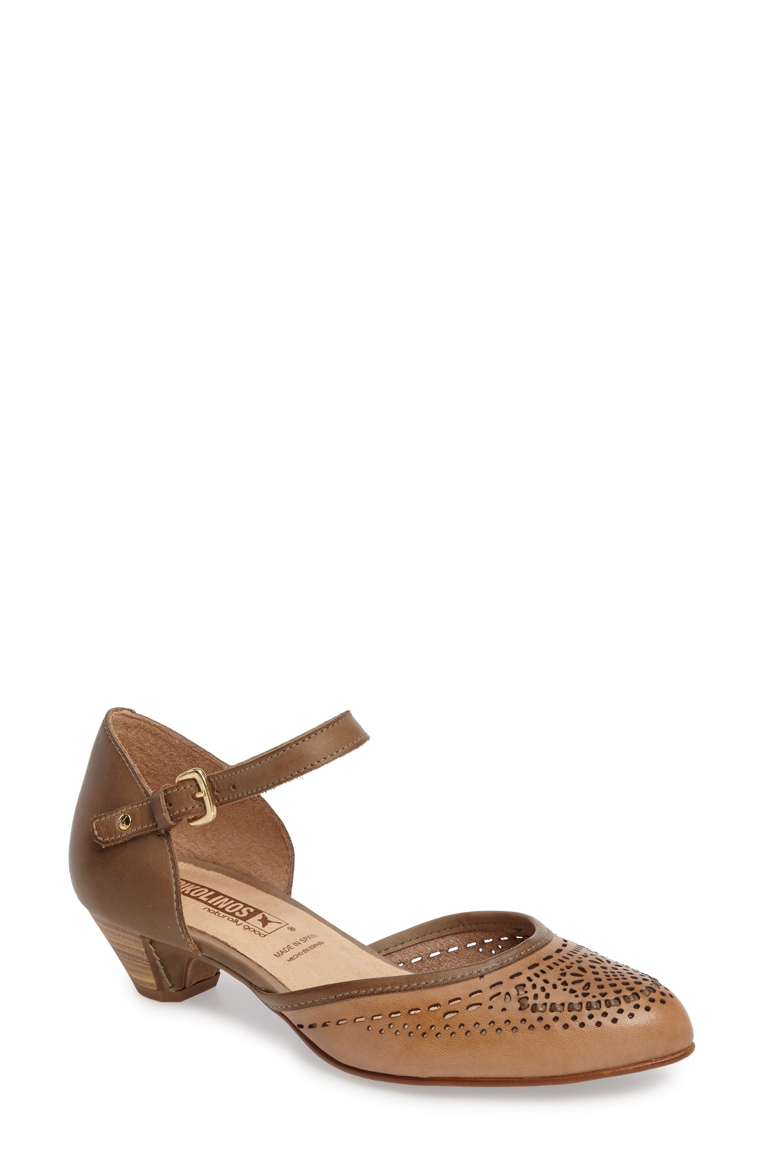 PIKOLINOS Elba Perforated Leather Ankle Strap Sandal