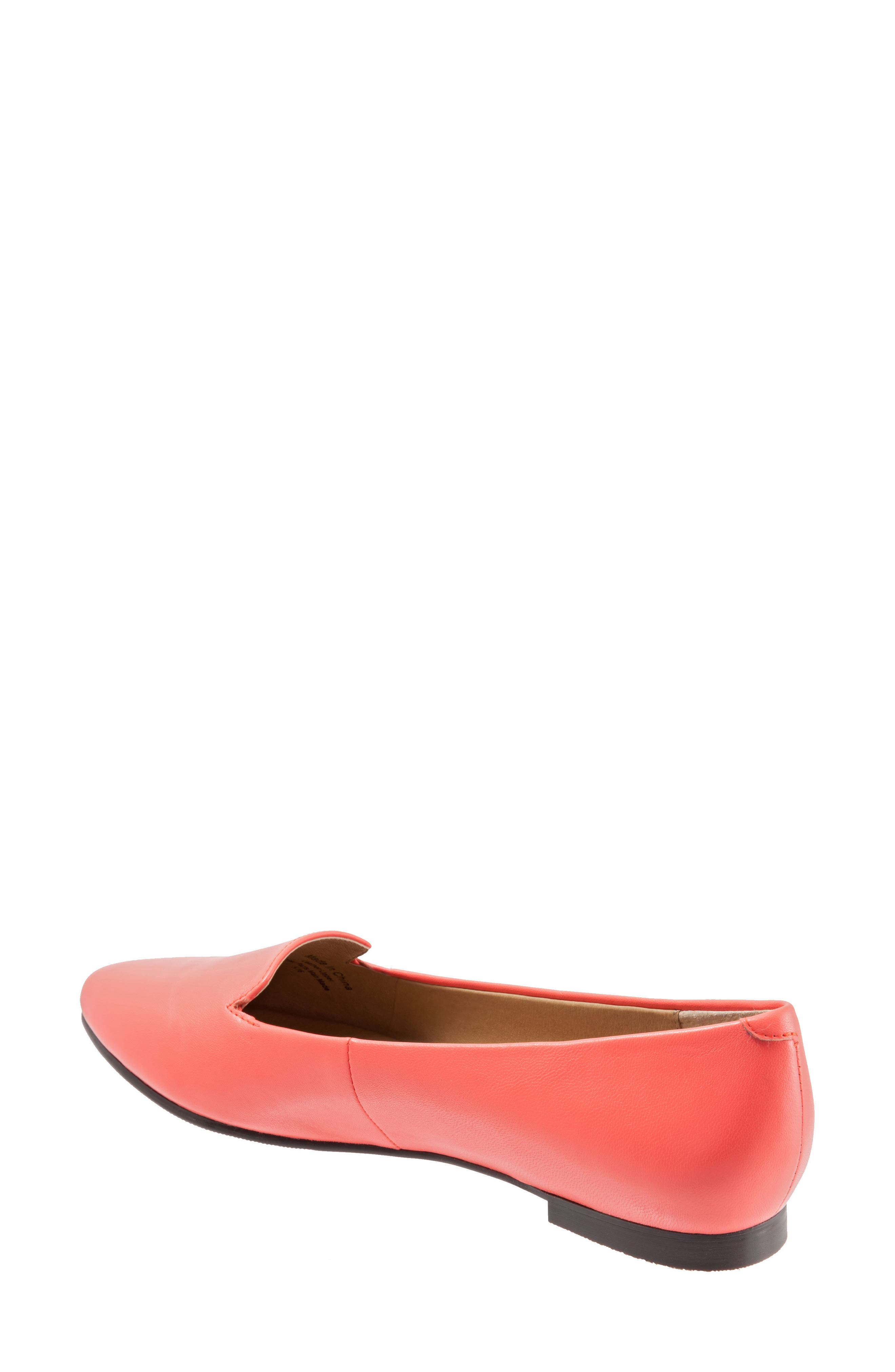 Harlowe Pointy Toe Loafer,                             Alternate thumbnail 2, color,                             Coral Leather