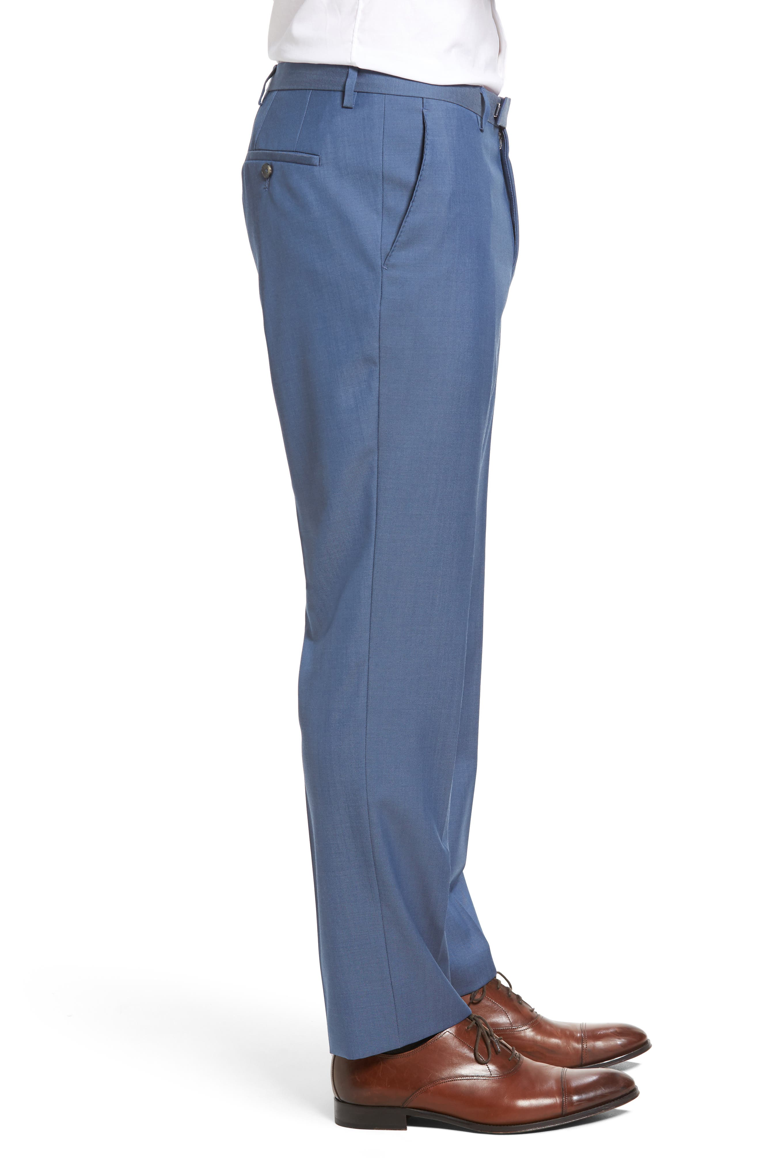 Leenon Flat Front Regular Fit Solid Wool Trousers,                             Alternate thumbnail 3, color,                             Light Blue