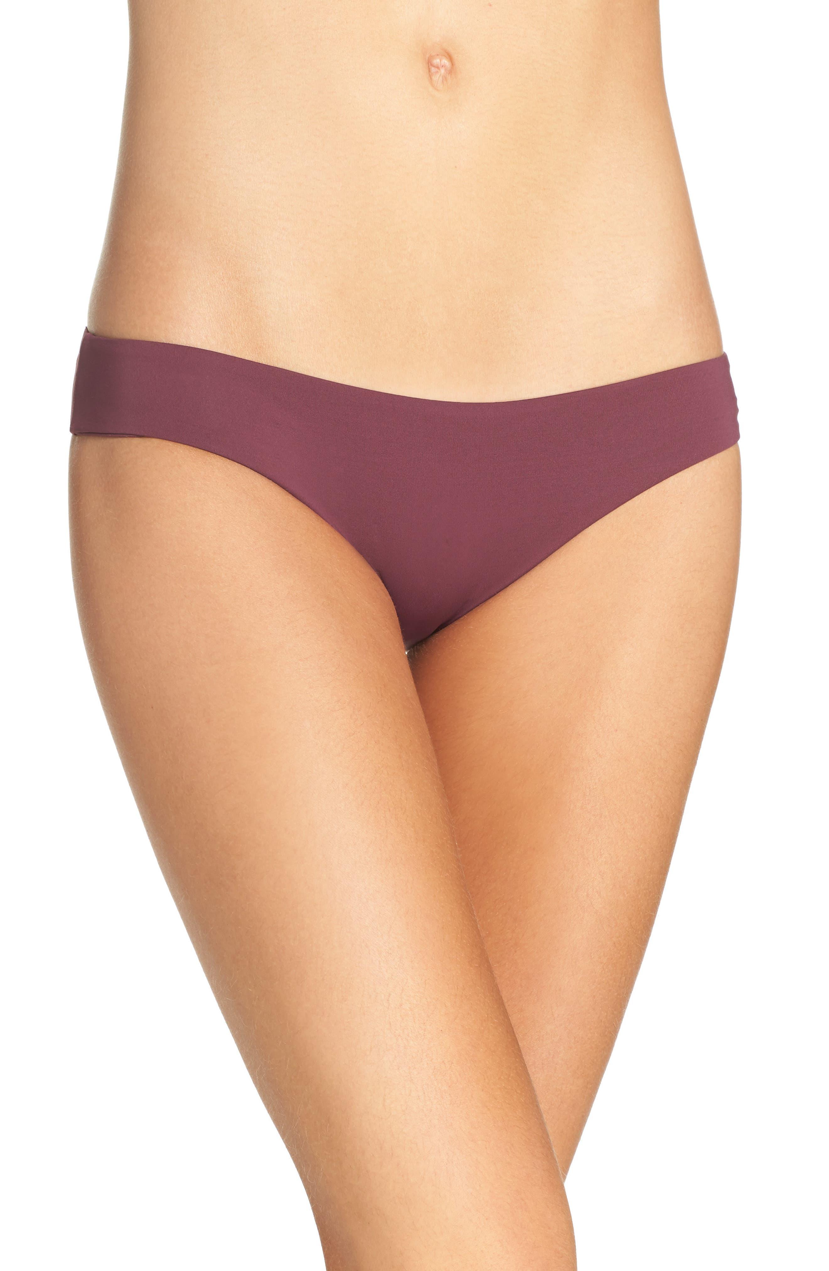 'Ali' Moderate Coverage Bikini Bottoms,                         Main,                         color, Merlot