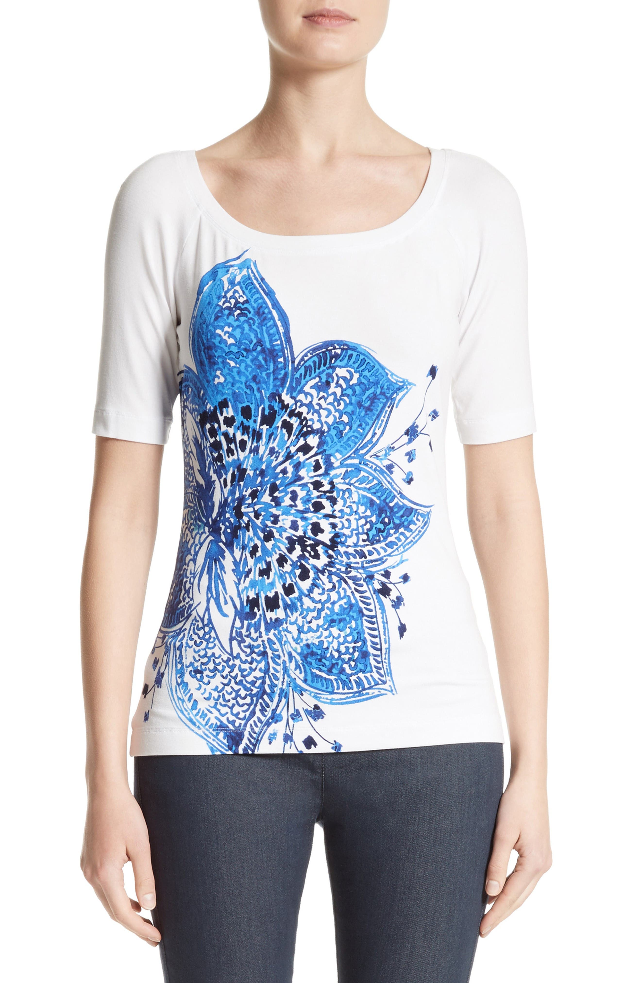Alternate Image 1 Selected - St. John Collection Lotus Blossom Print Jersey Tee