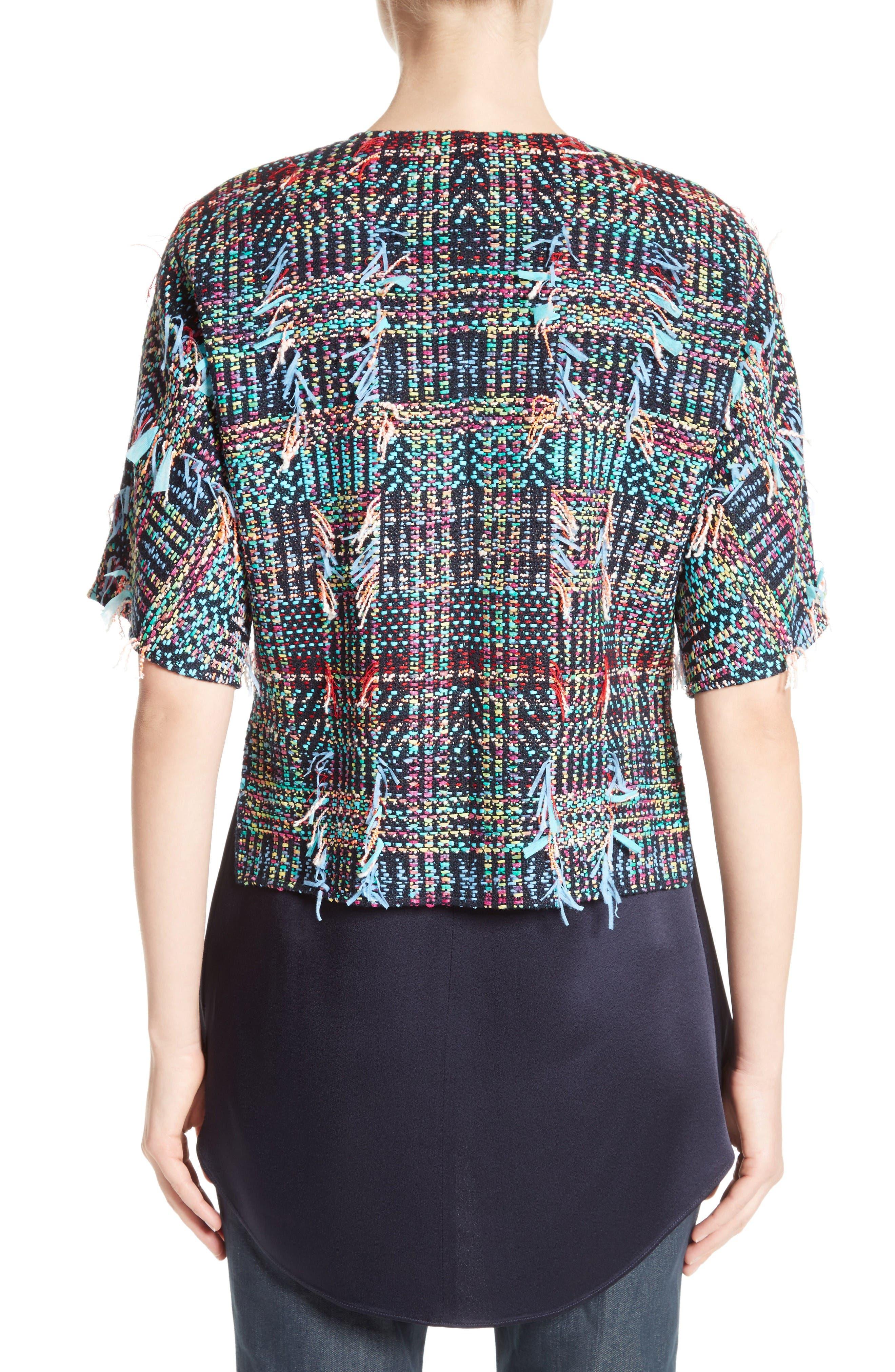 Dara Fringe Knit Jacket,                             Alternate thumbnail 2, color,                             Navy Multi