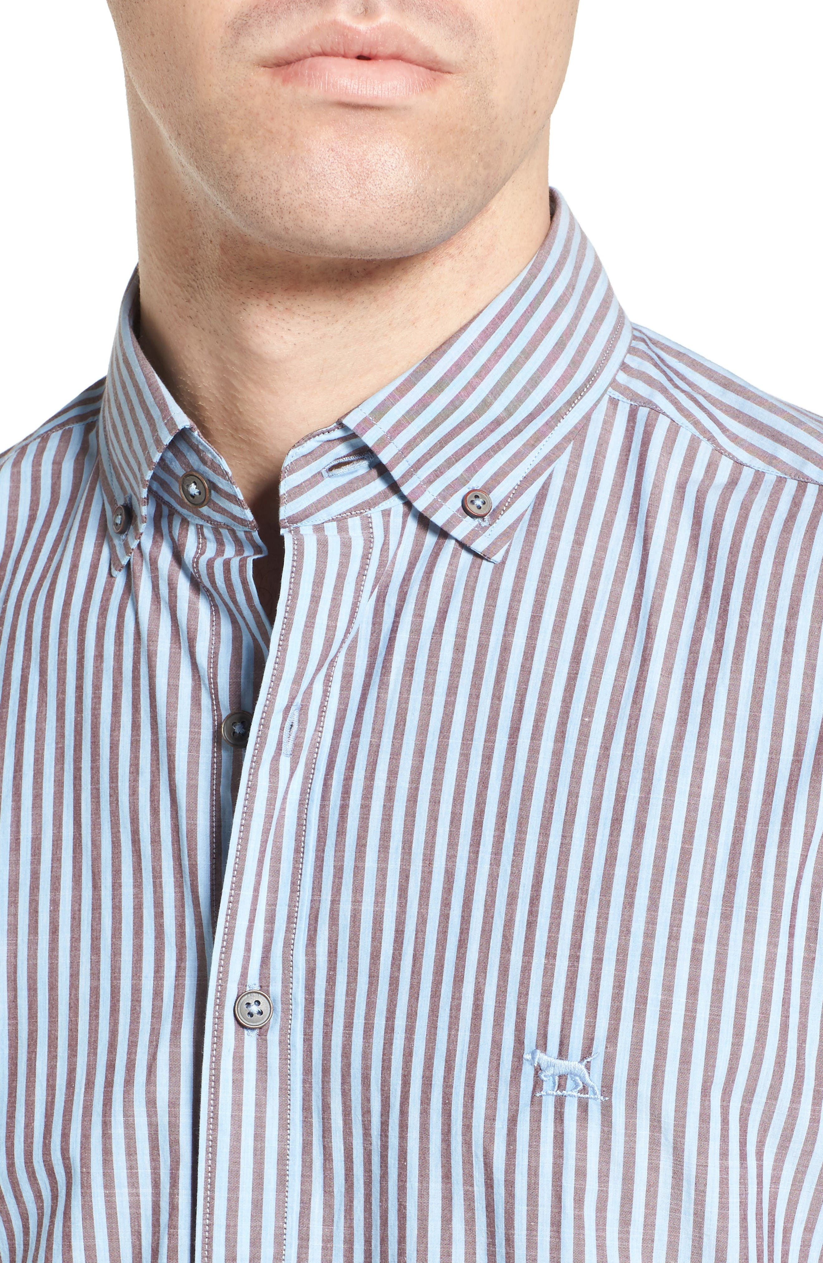 Fitzroy Stripe Sport Shirt,                             Alternate thumbnail 4, color,                             Sky