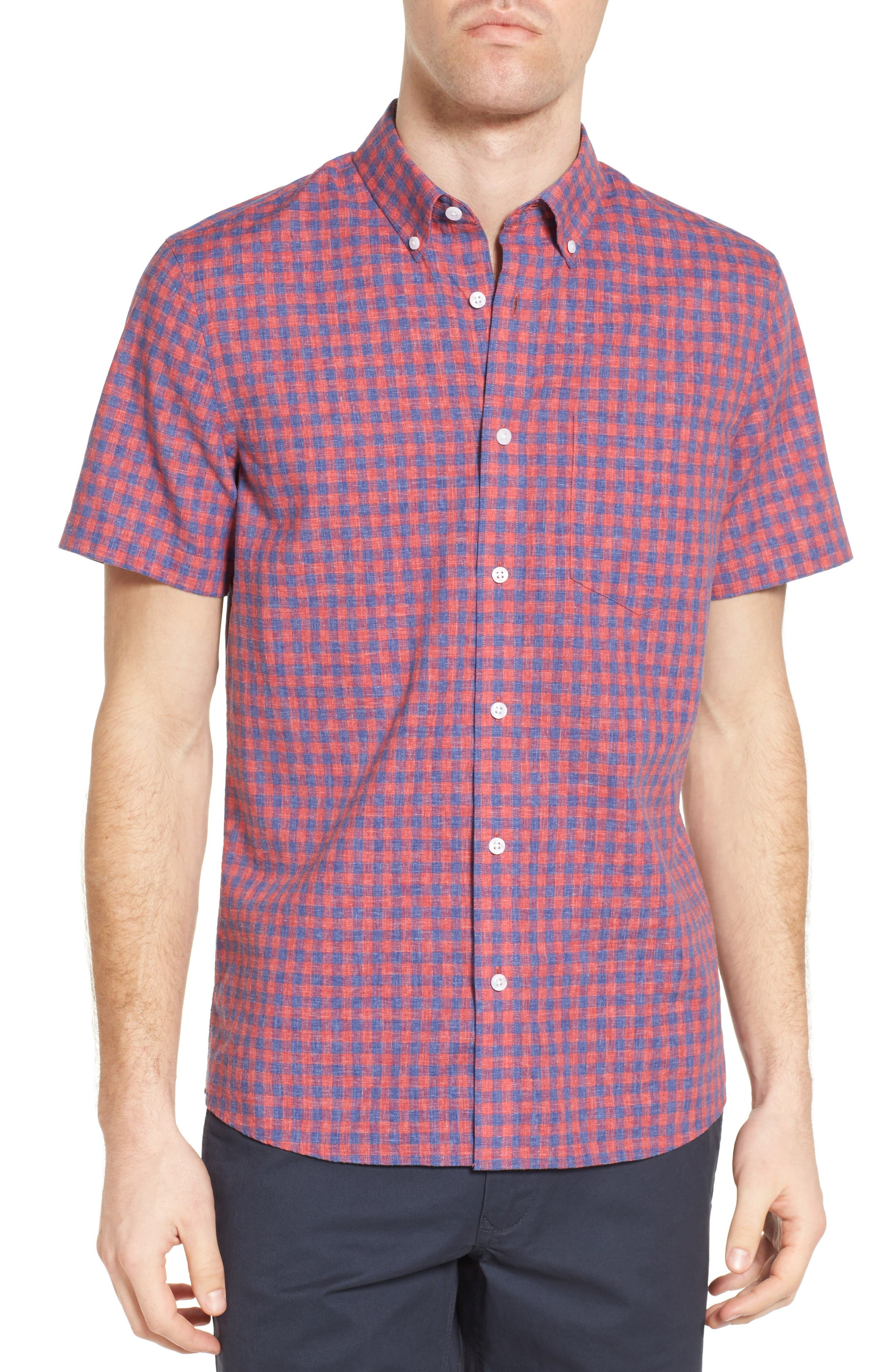 Slim Fit Gingham Check Sport Shirt,                         Main,                         color, Red Chateaux Gingham
