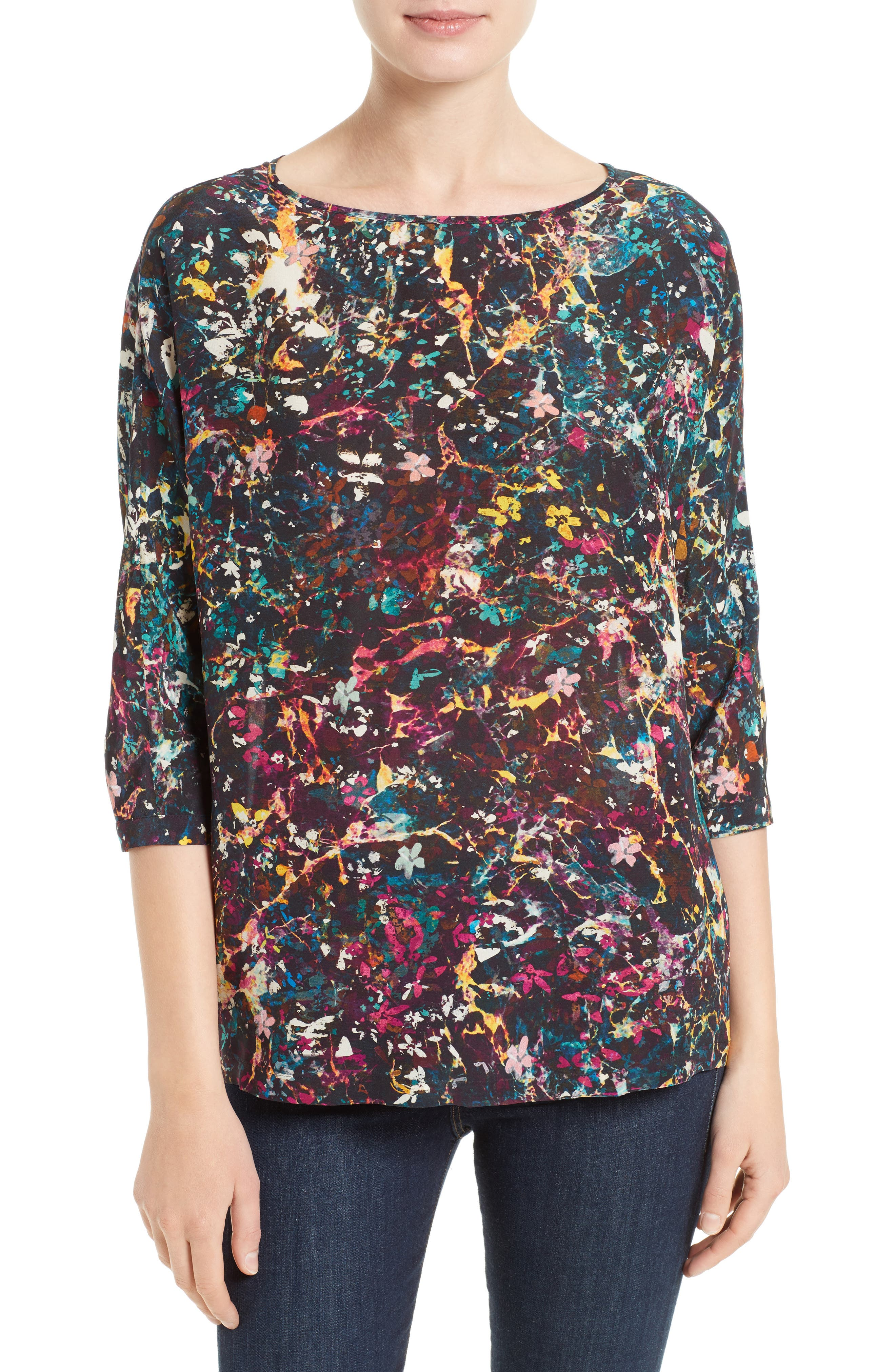 M Missoni Abstract Floral Silk Top