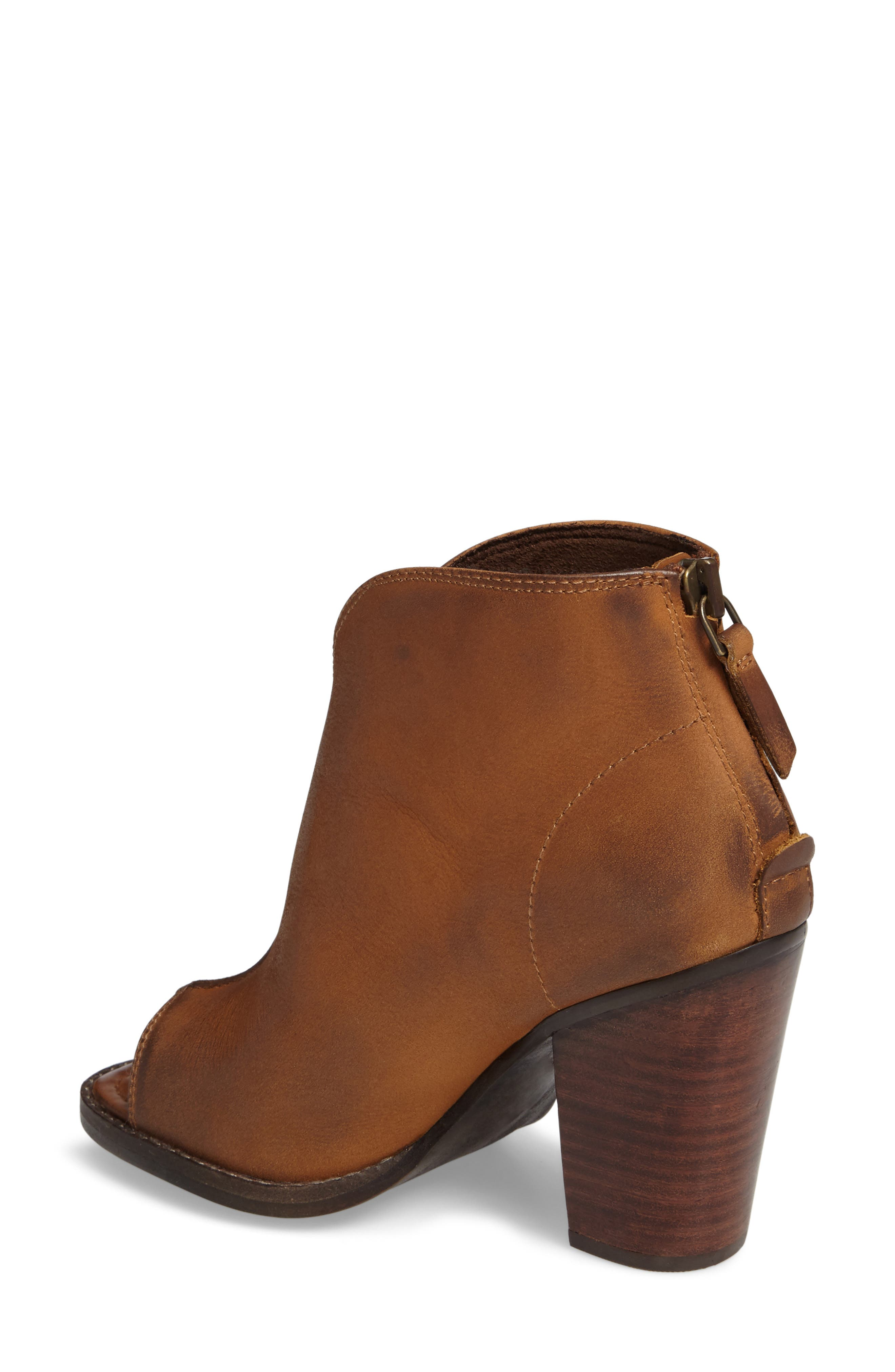 Lindsley Peep Toe Bootie,                             Alternate thumbnail 2, color,                             Tennessee Tan Leather