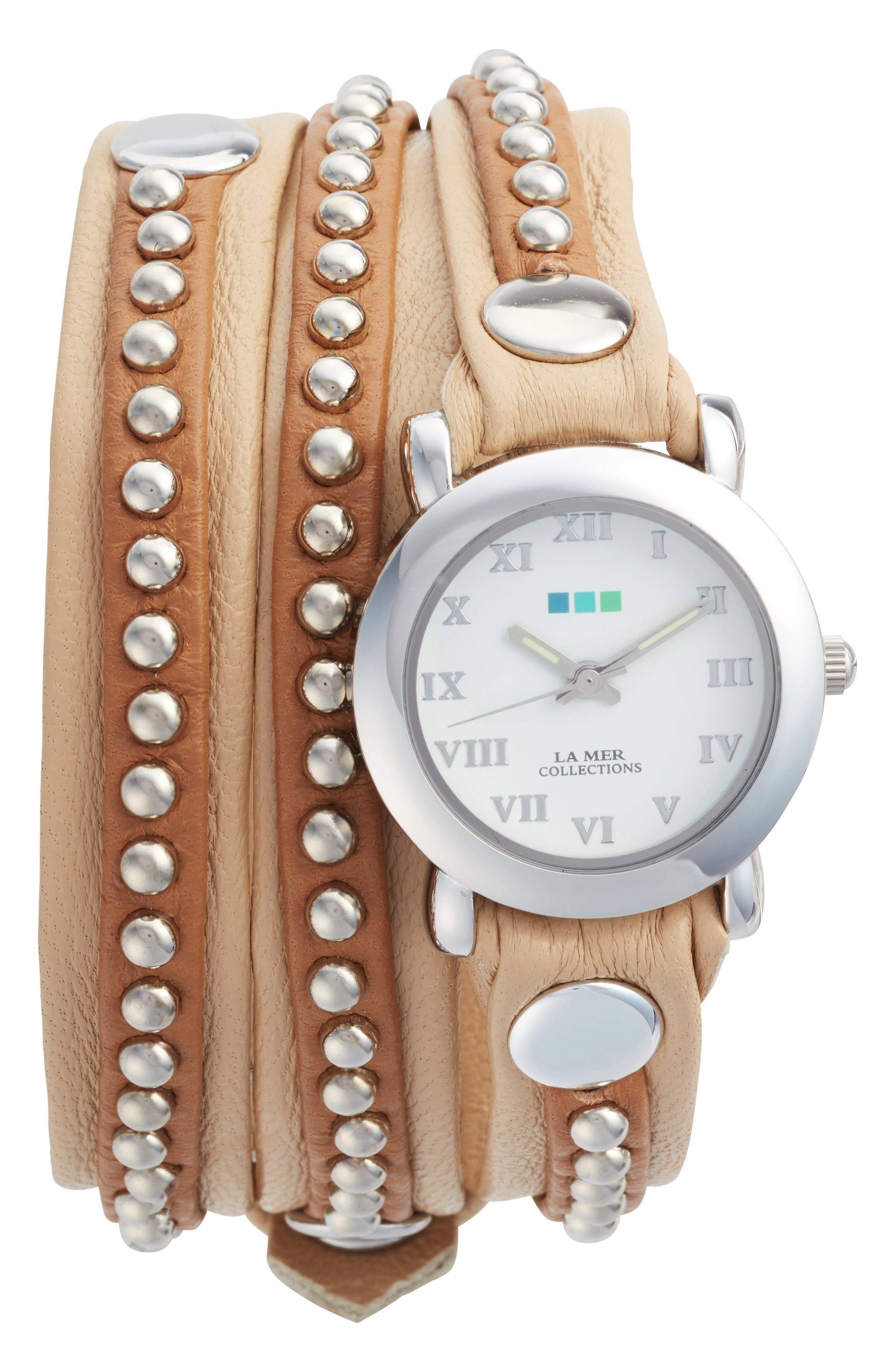 Bali Stud Leather Wrap Strap Watch, 25.4mm,                         Main,                         color, Beige/ White/ Silver