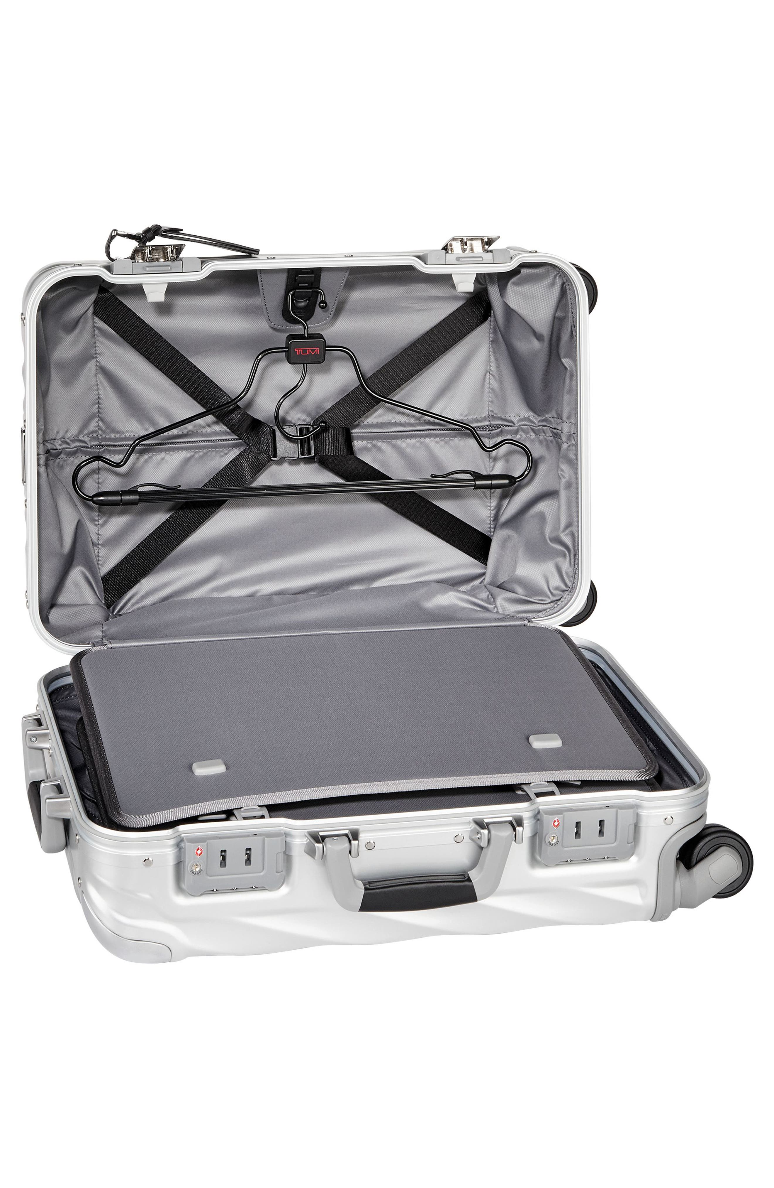 19 Degree Collection International Wheeled Aluminum Carry-On,                             Alternate thumbnail 3, color,                             Silver
