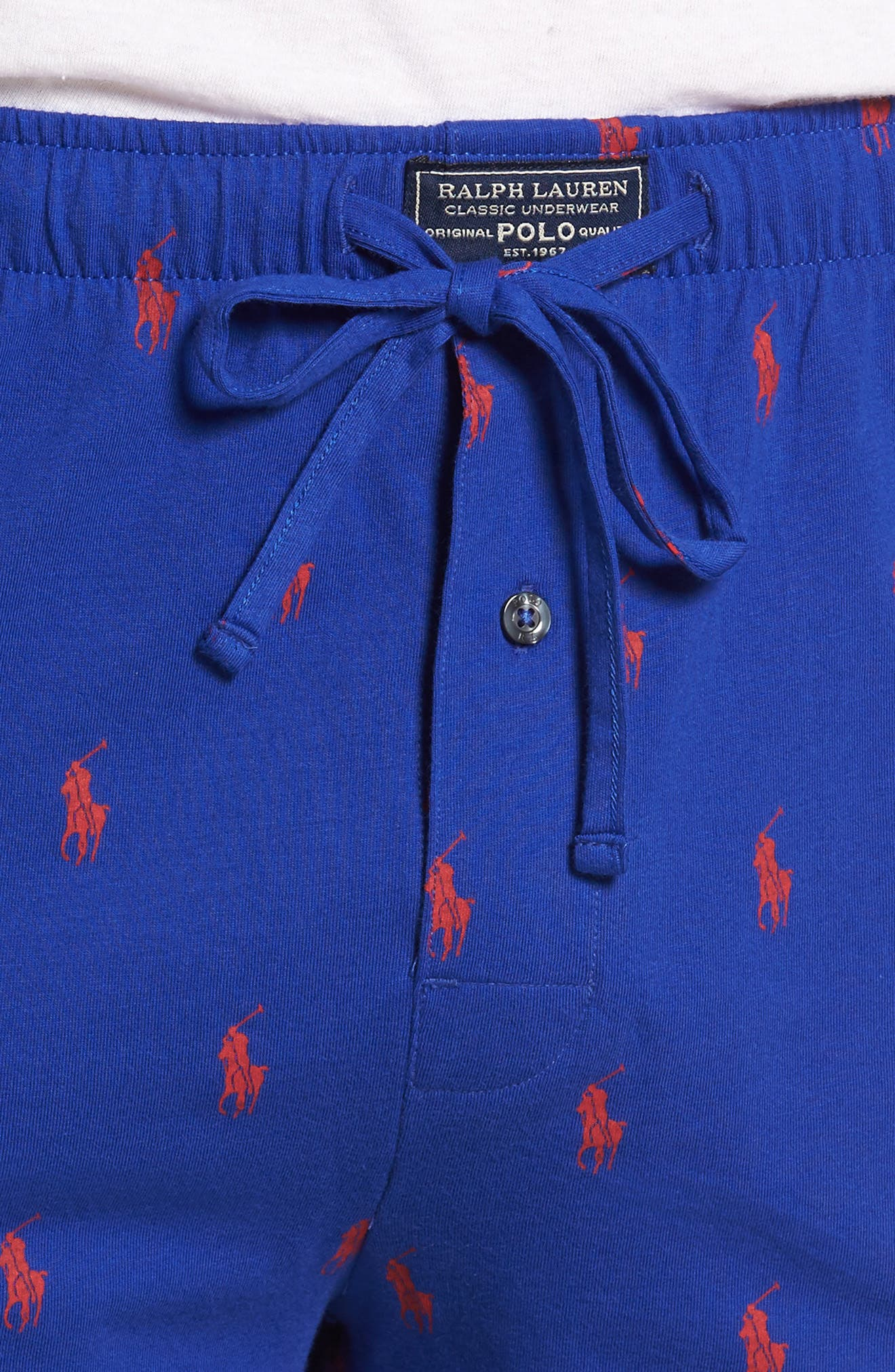 Cotton Sleep Shorts,                             Alternate thumbnail 4, color,                             Logan Sapphire
