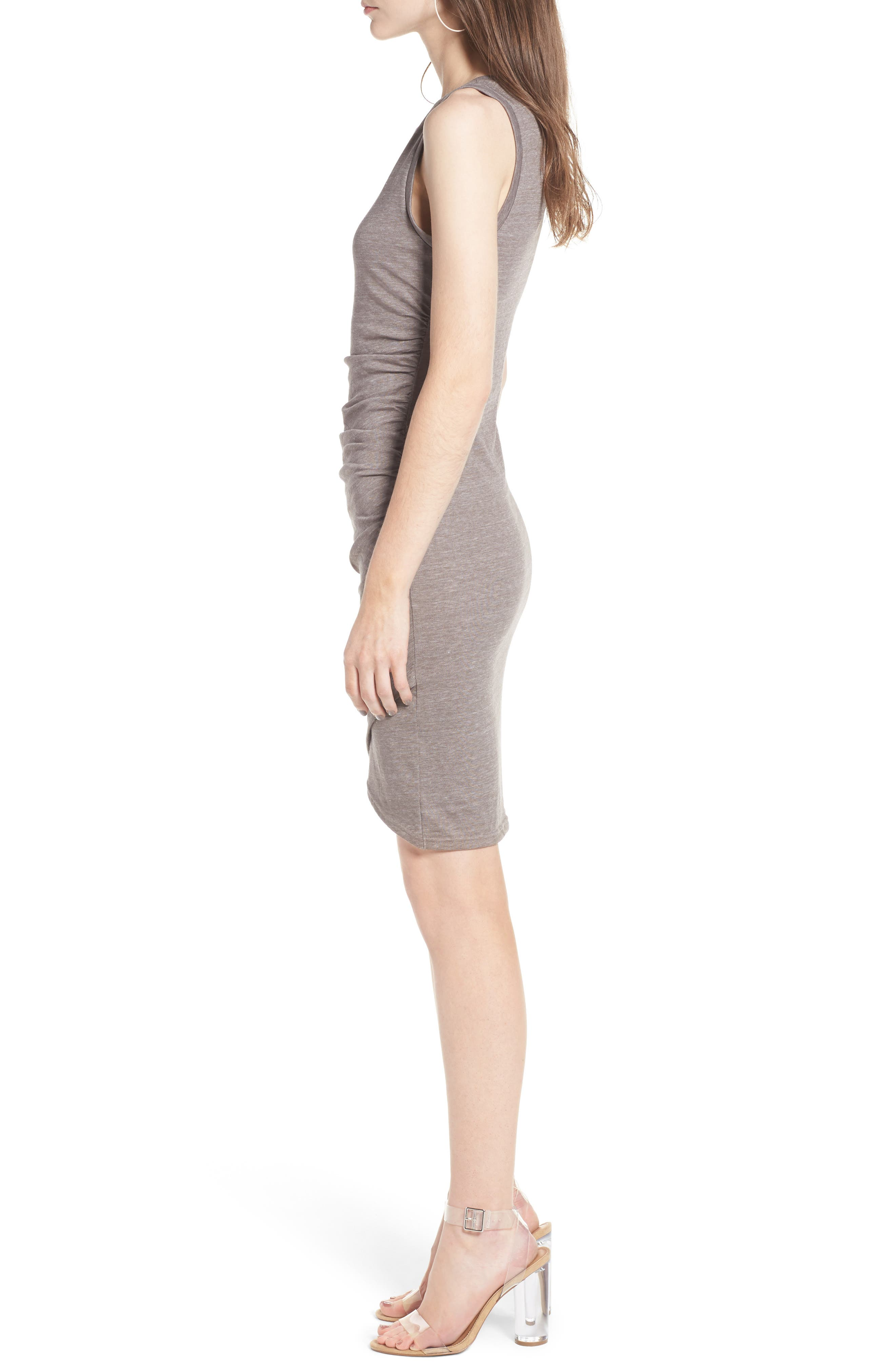 Ruched Body-Con Tank Dress,                             Alternate thumbnail 3, color,                             Tan Dusk Heather