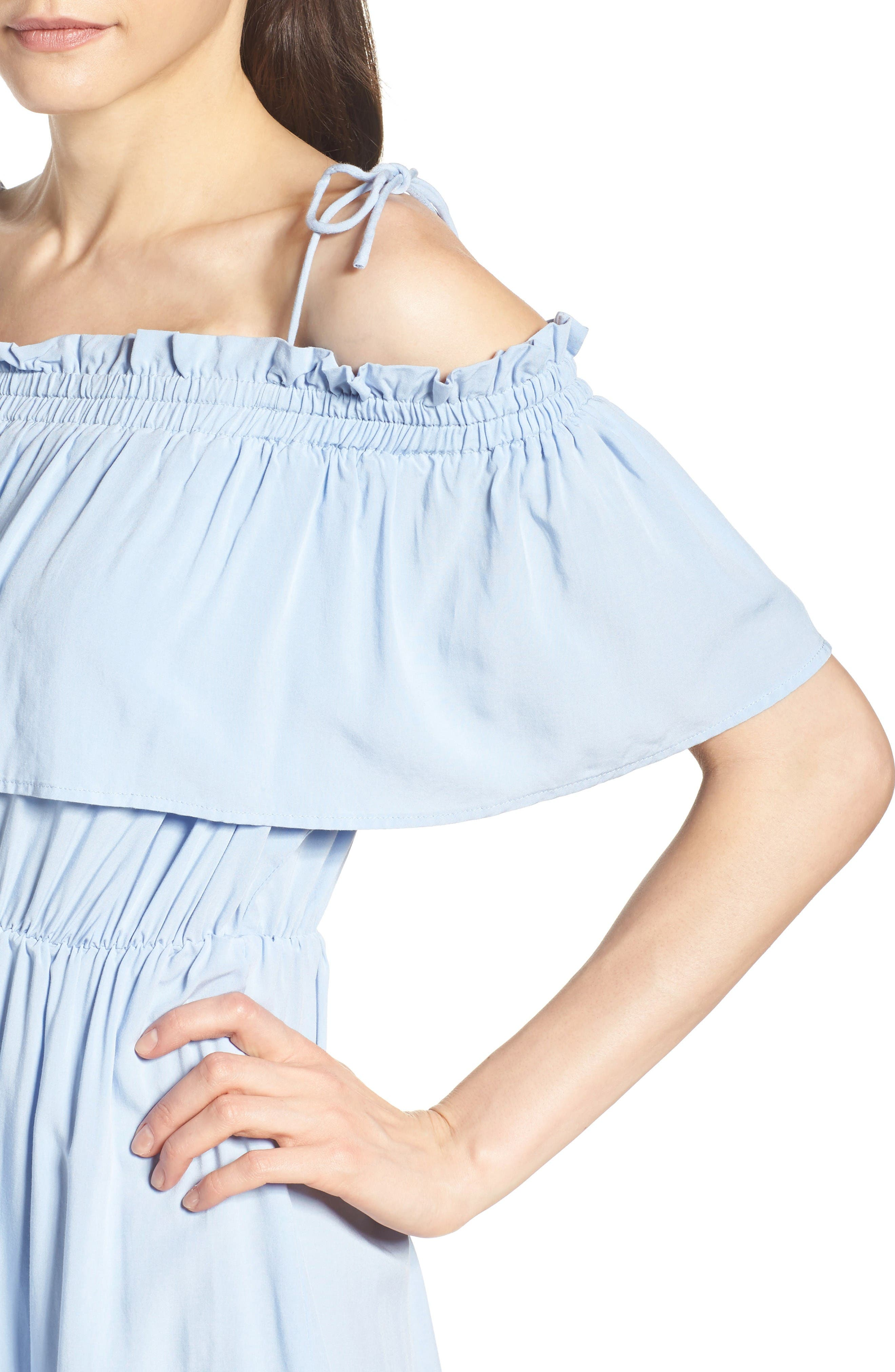 Chelsea Ruffle Bodice Off the Shoulder Dress,                             Alternate thumbnail 5, color,                             Sky Blue