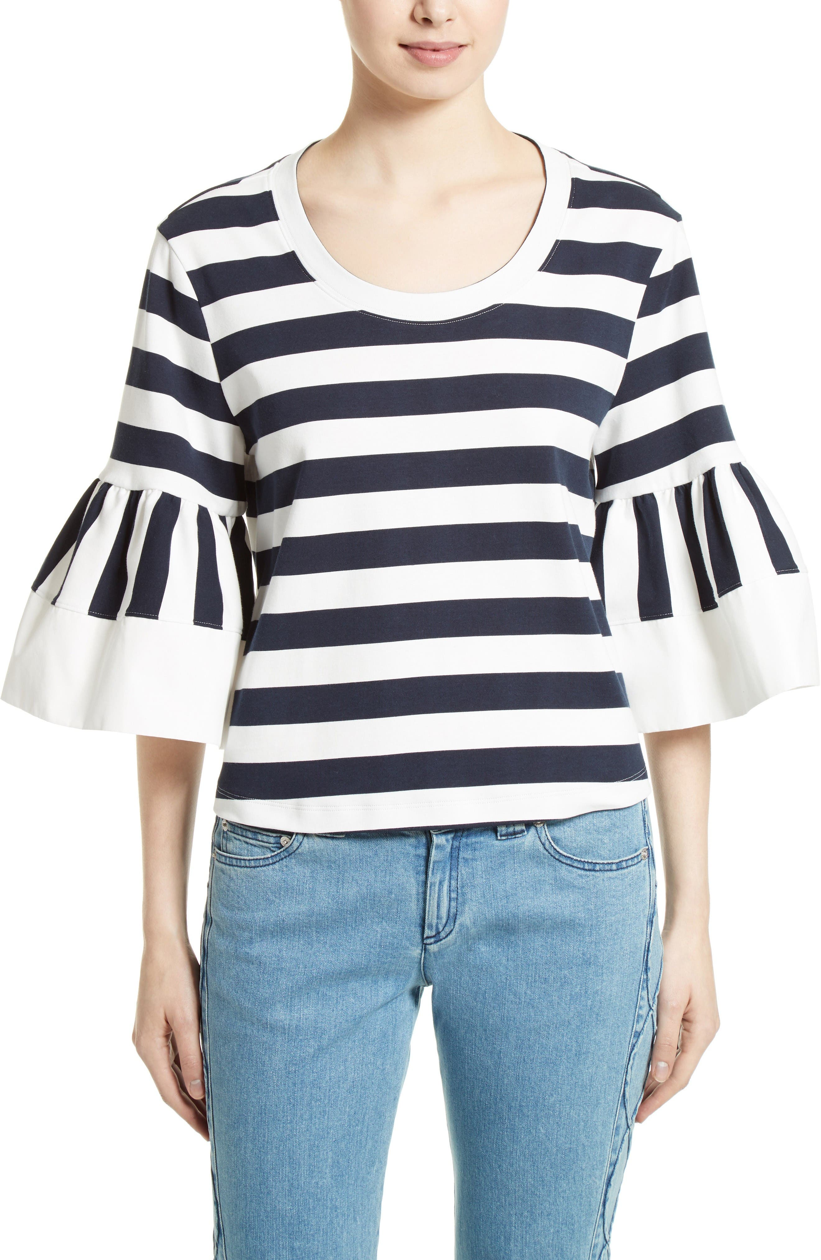Main Image - See by Chloé Stripe Jersey Bell Sleeve Top (Nordstrom Exclusive)