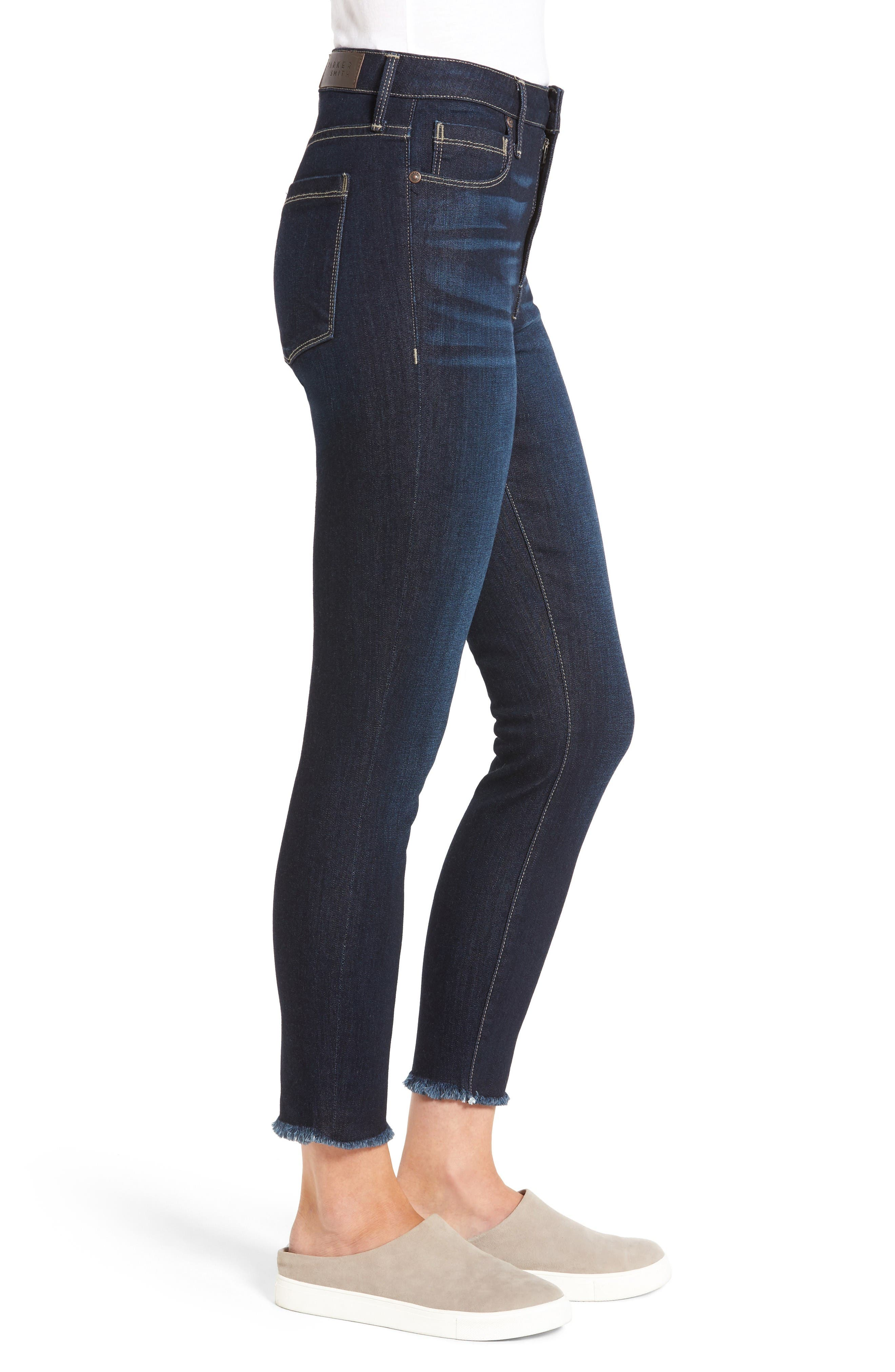 Bombshell Raw Hem Stretch Skinny Jeans,                             Alternate thumbnail 3, color,                             Horizon