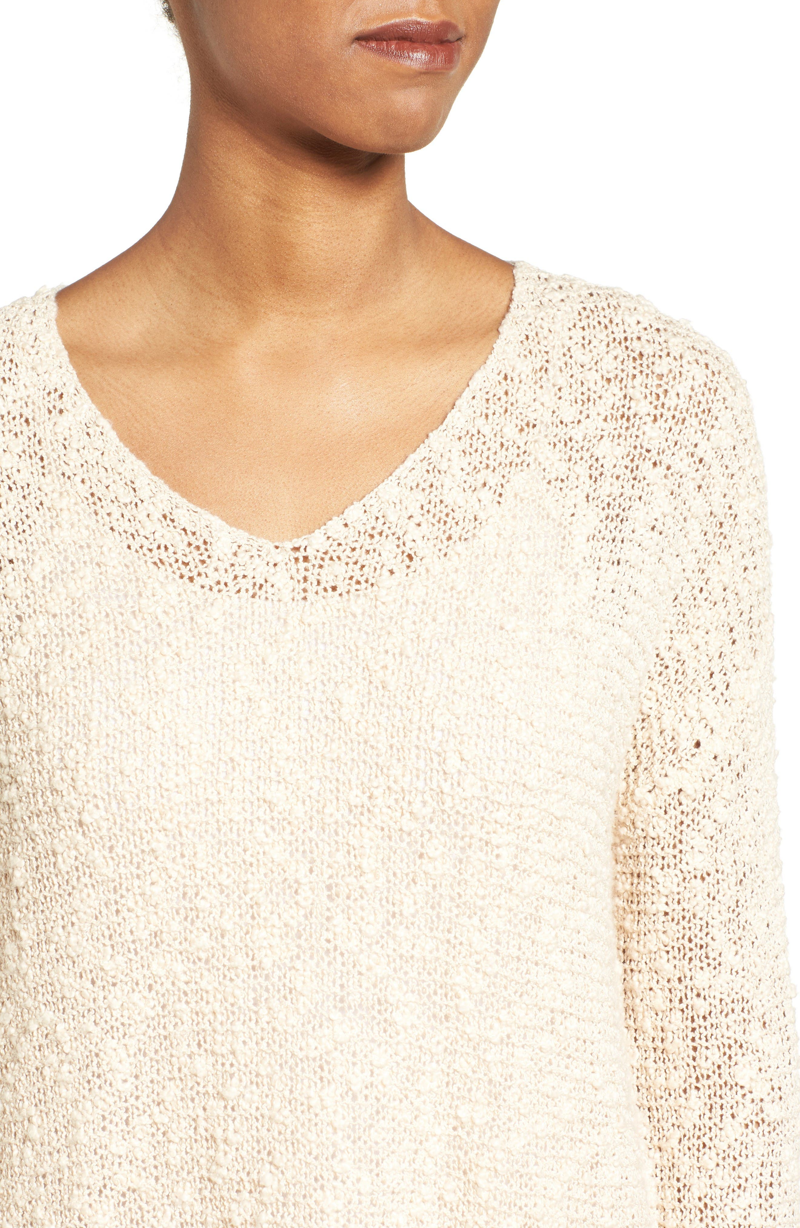 Open Stitch V-Neck Sweater,                             Alternate thumbnail 4, color,                             Beige Beach