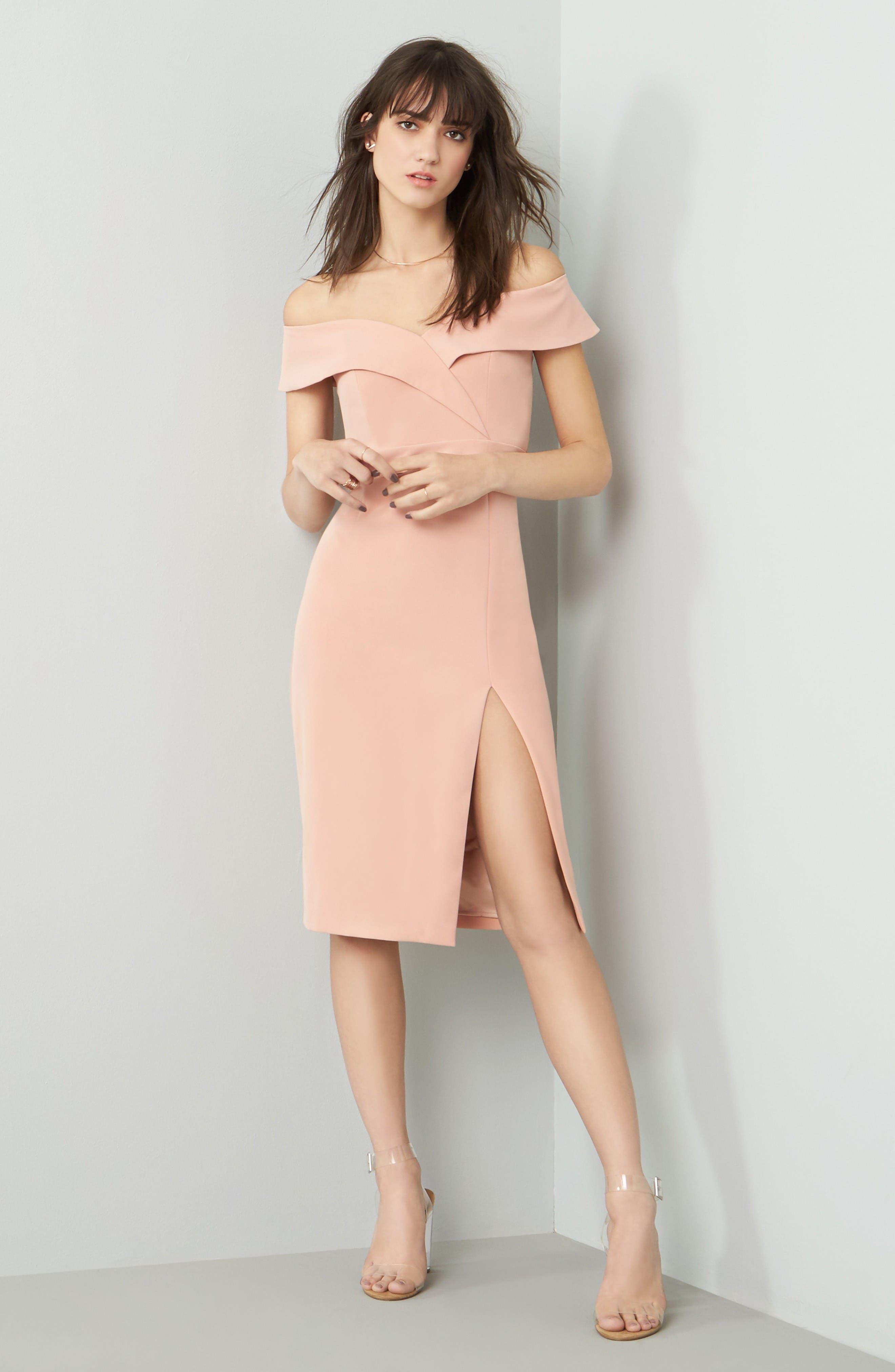 Bella Midi Dress,                             Alternate thumbnail 6, color,                             Peach