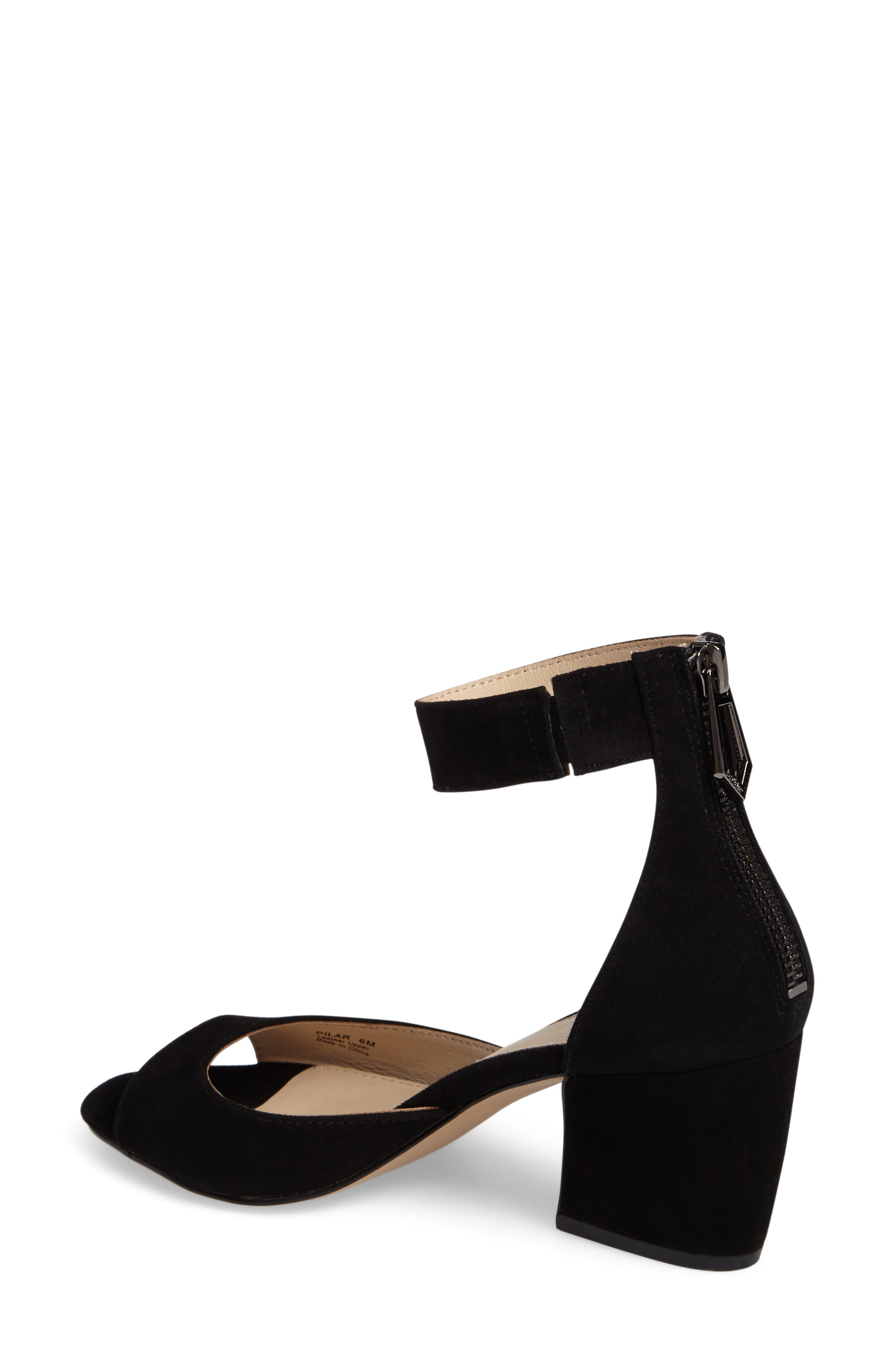 Pilar Ankle Strap Sandal,                             Alternate thumbnail 2, color,                             Black