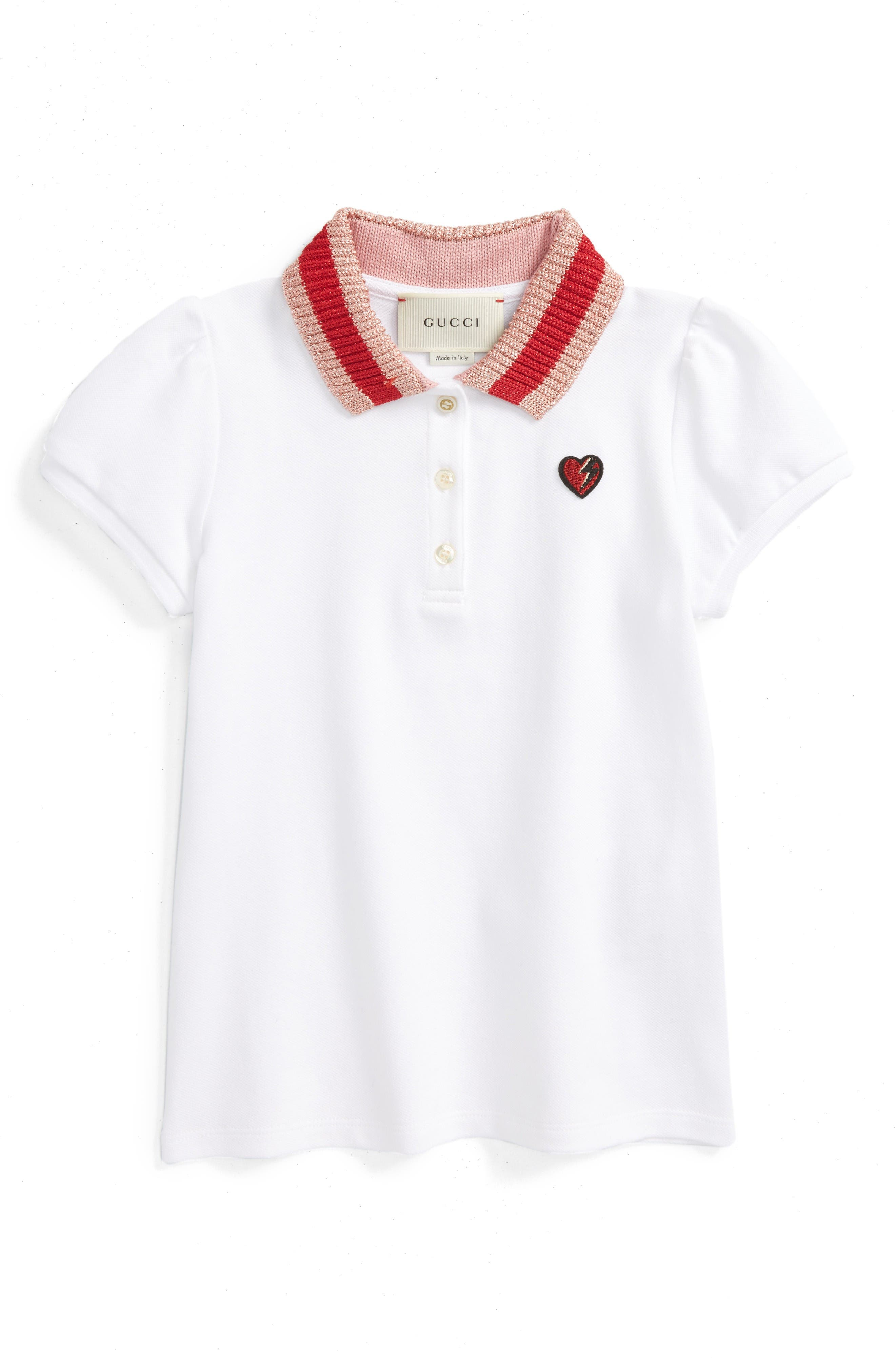 Heart Embroidered Polo,                         Main,                         color, White