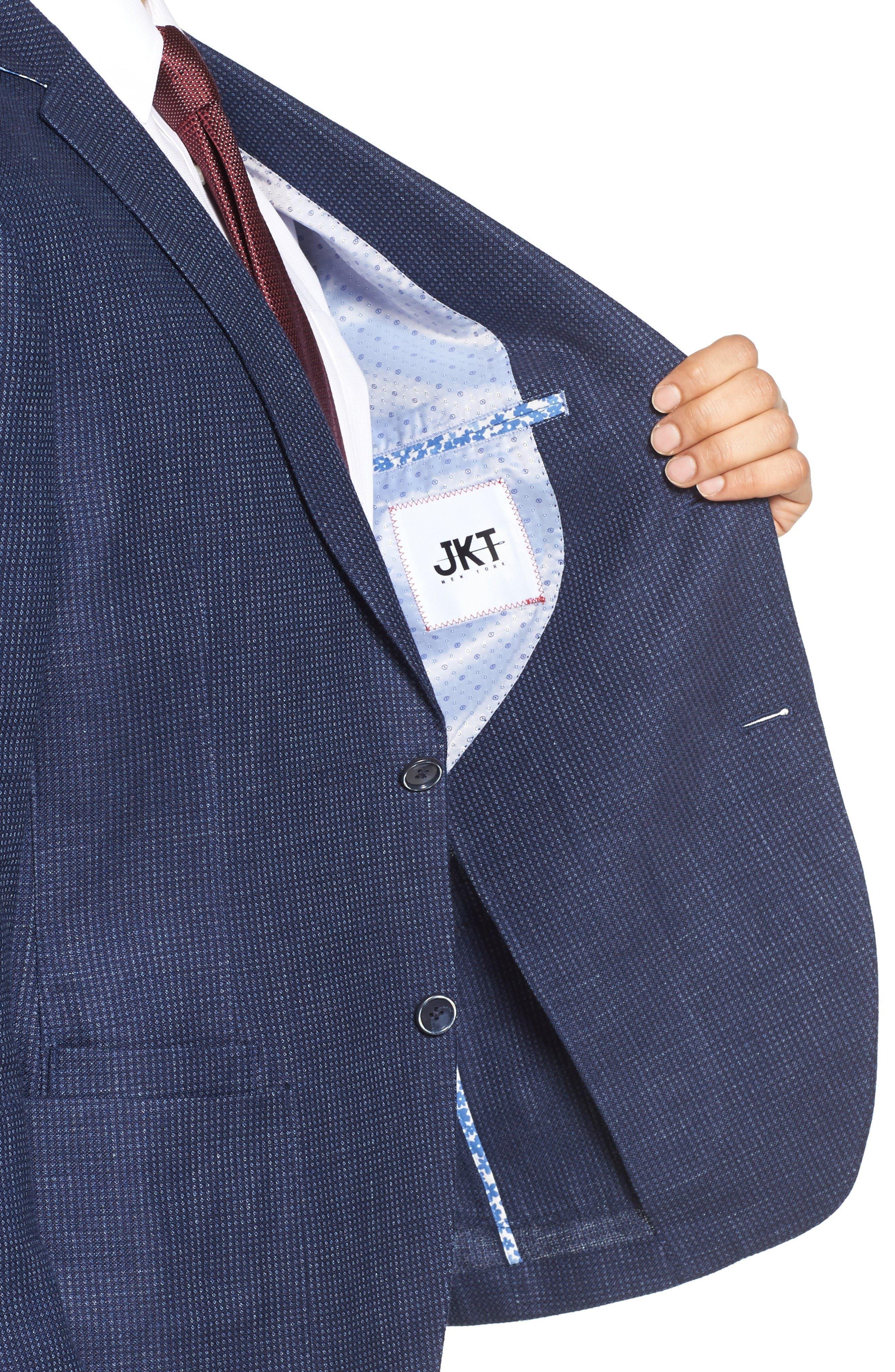 Trim Fit Bird's Eye Linen & Wool Sport Coat,                             Alternate thumbnail 4, color,                             Navy