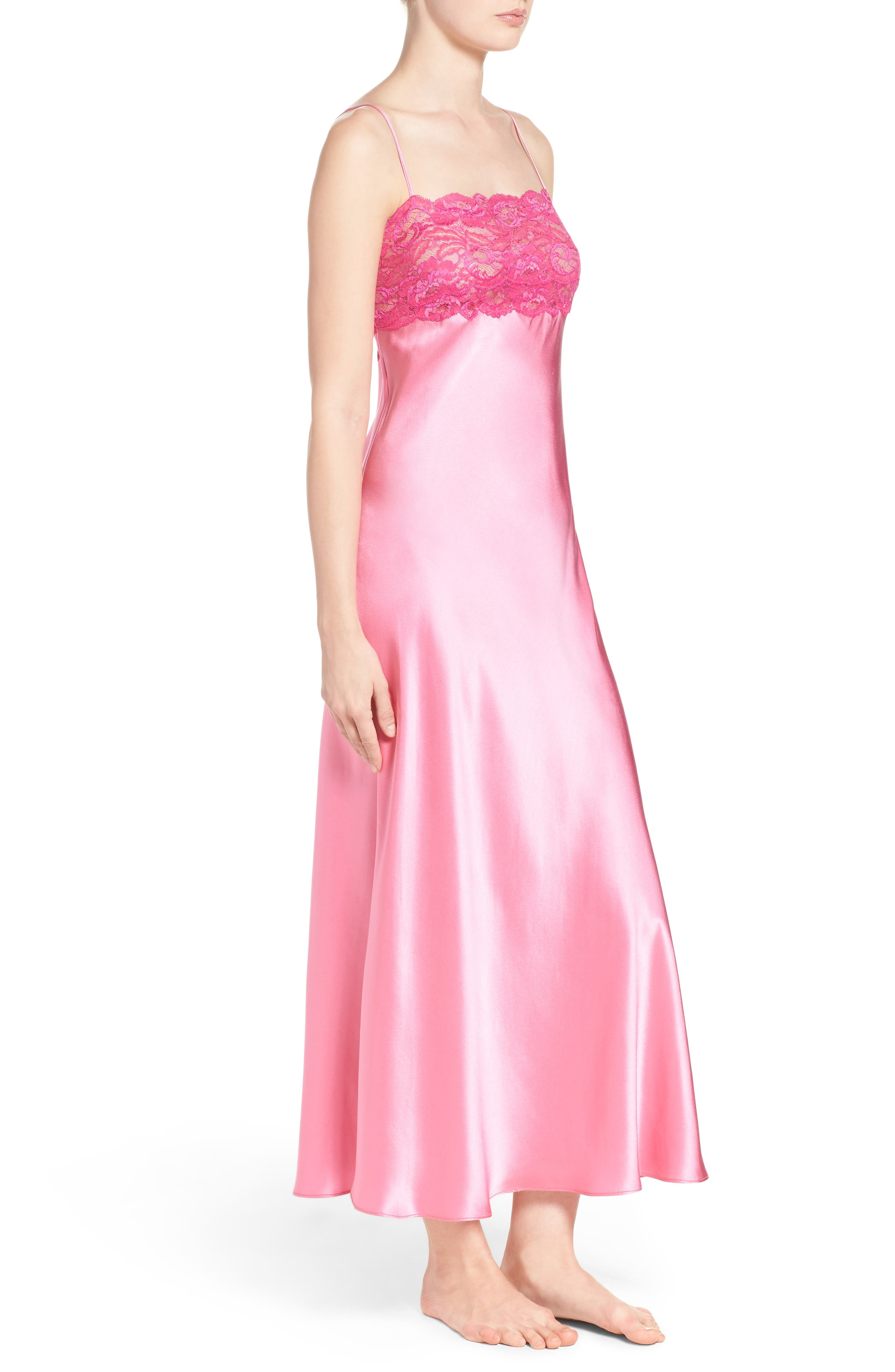 Lace & Silk Nightgown,                             Alternate thumbnail 3, color,                             Dahlia / Peony