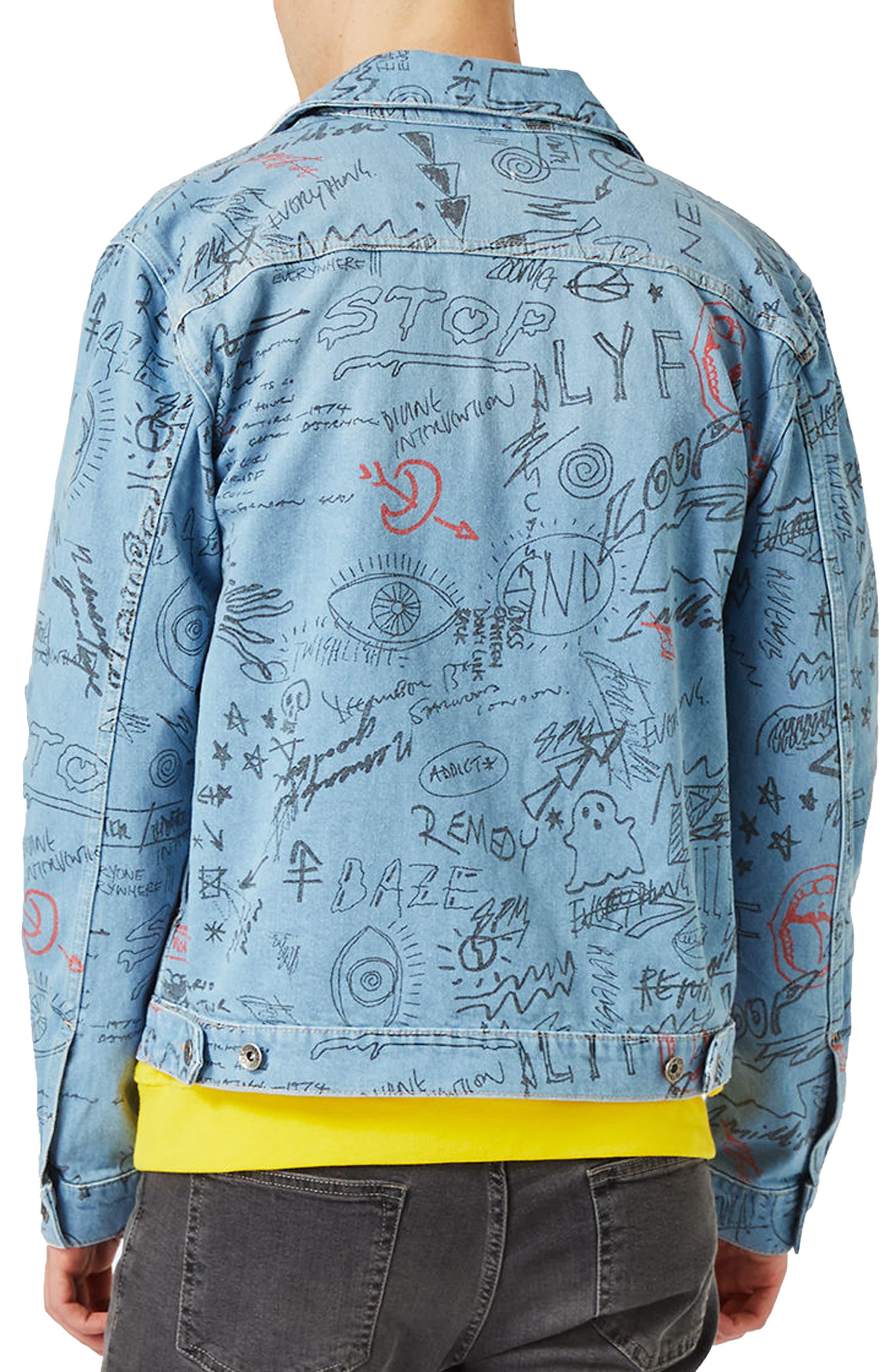 Alternate Image 3  - Topman Doodle Denim Jacket