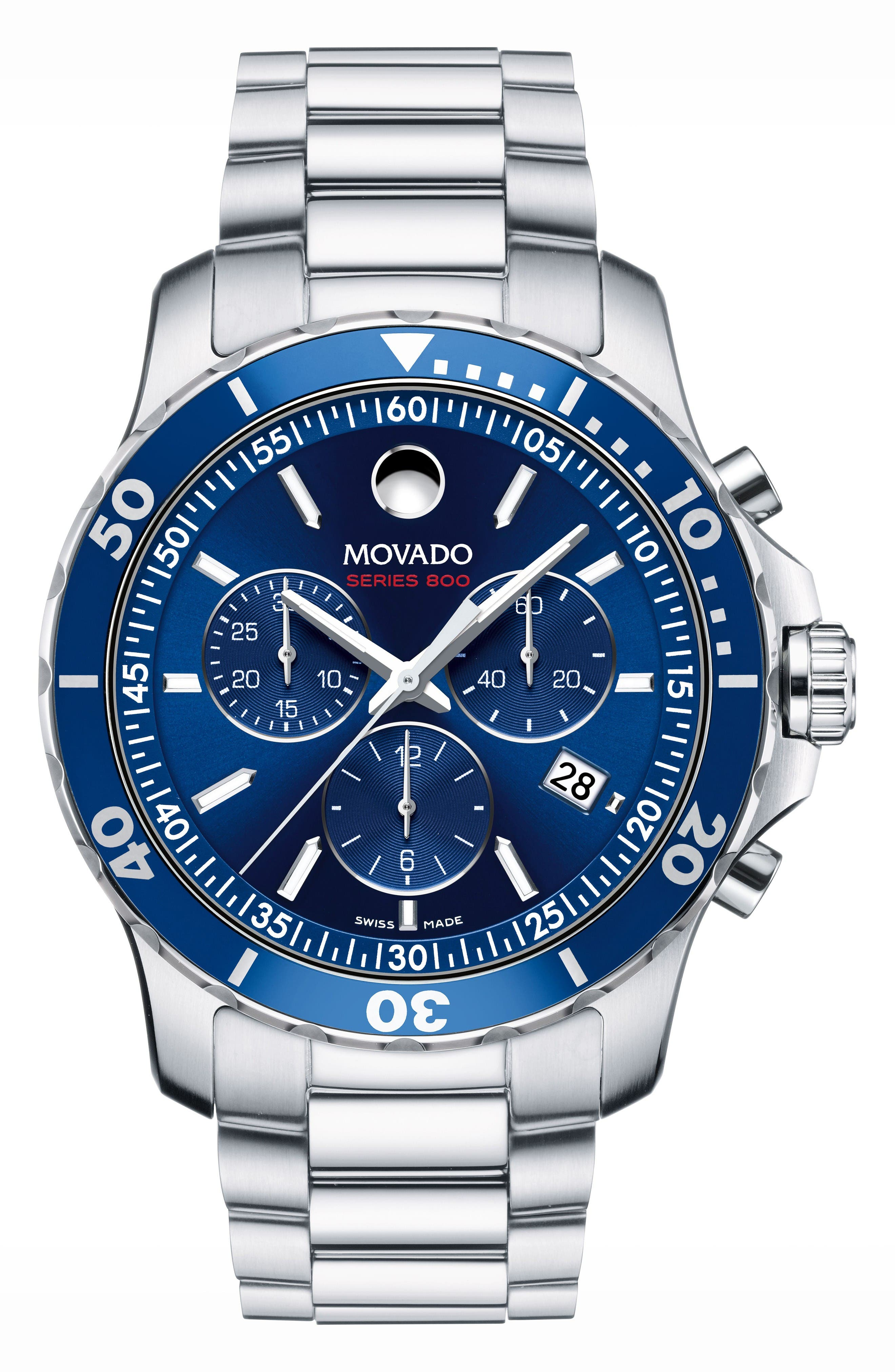 'Series 800' Chronograph Bracelet Watch, 42mm,                         Main,                         color, Silver/ Blue/ Silver