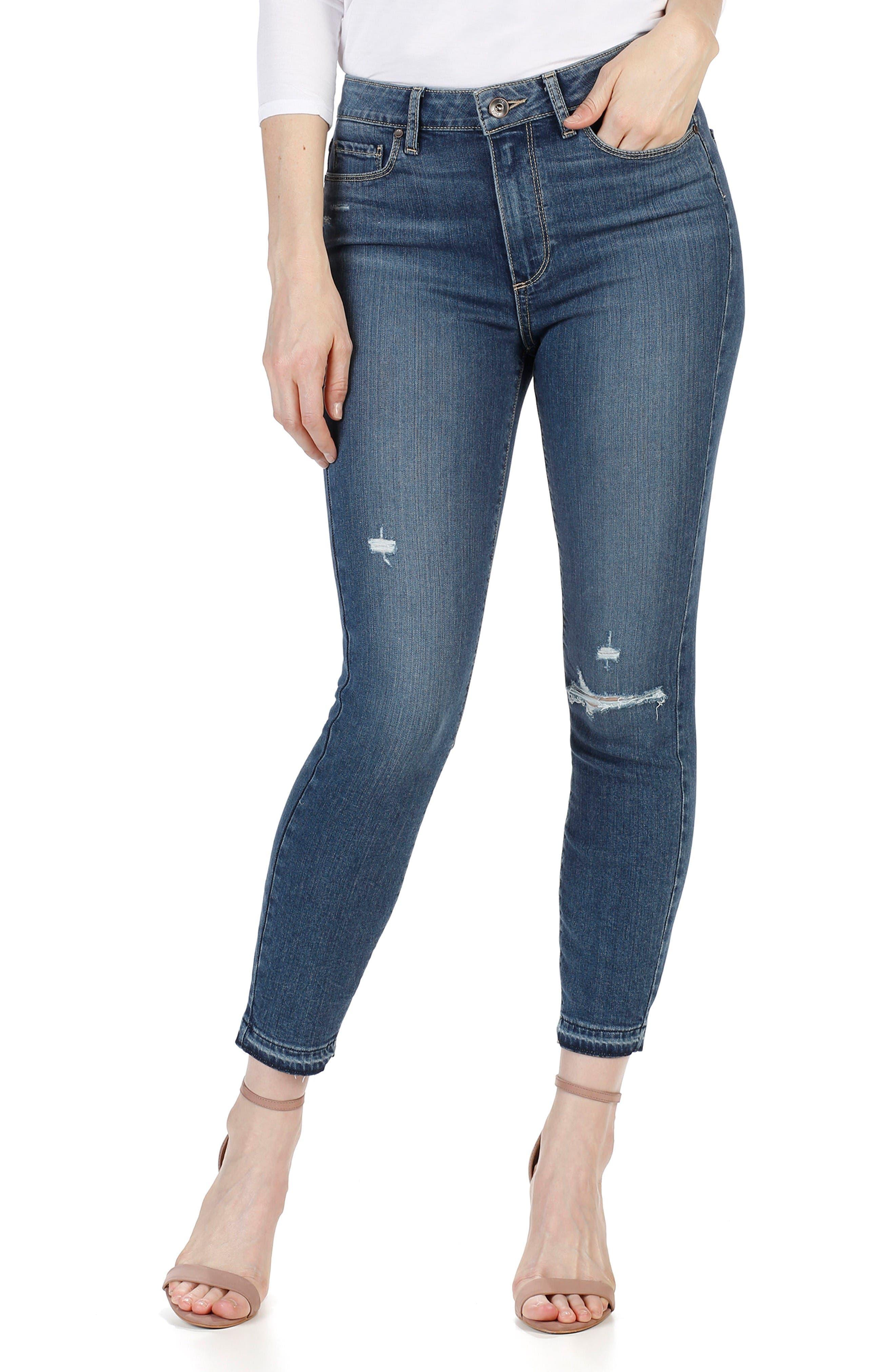 PAIGE Transcend - Hoxton High Waist Crop Skinny Jeans (Lexi Destructed)