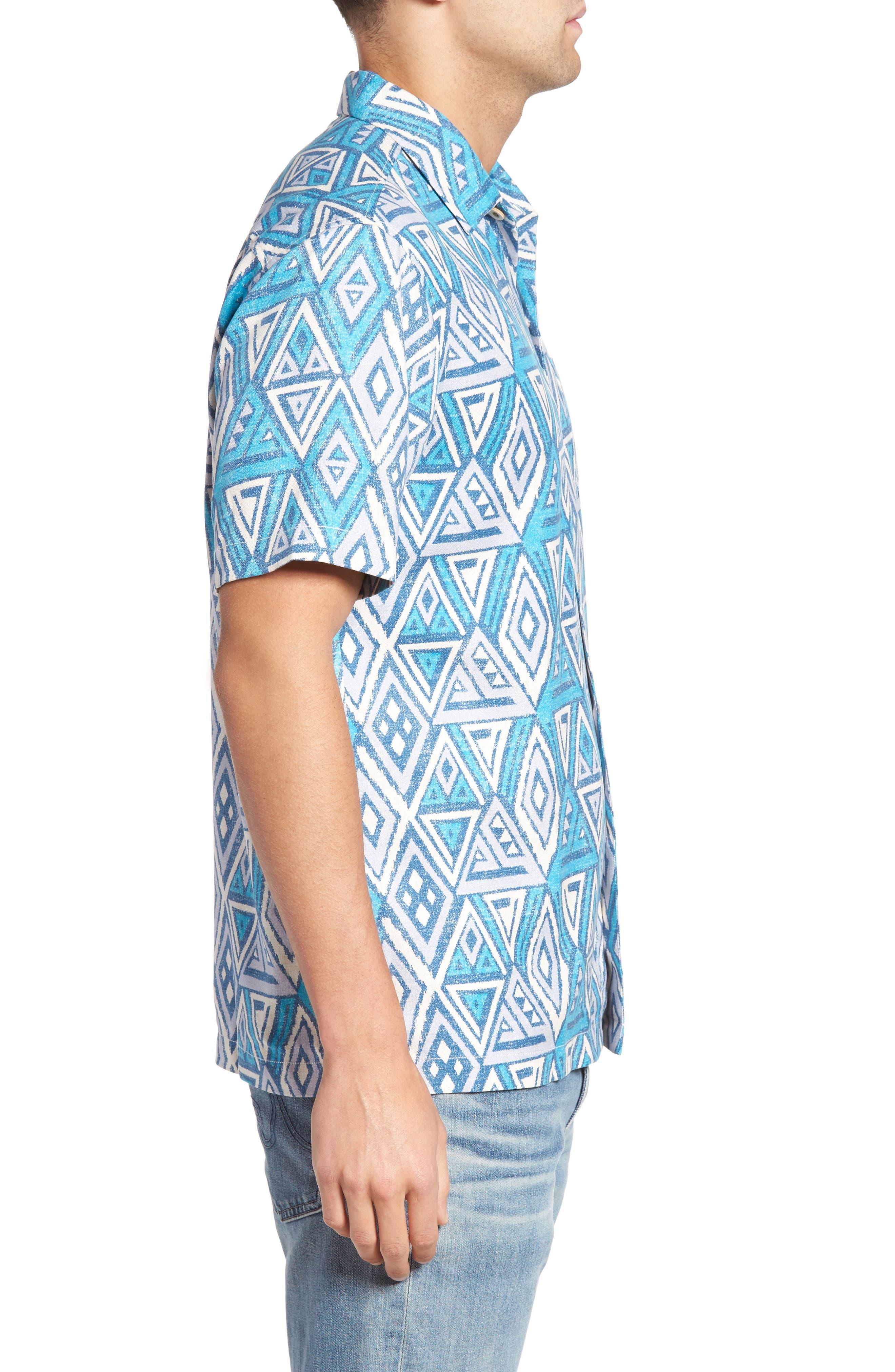 Alternate Image 3  - Tommy Bahama Trio Geo Silk Blend Camp Shirt