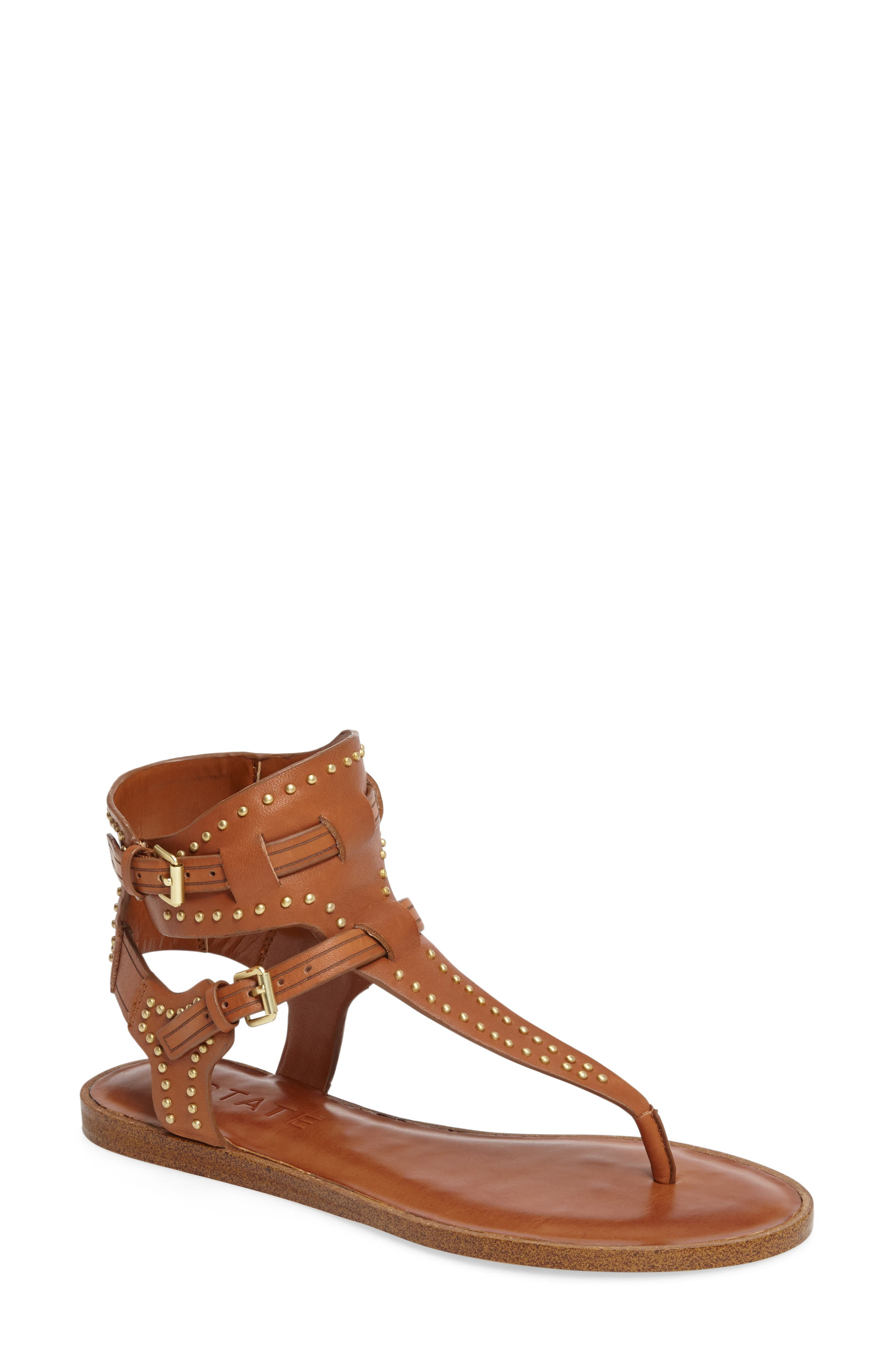 Lamanna Ankle Strap Sandal,                             Main thumbnail 1, color,                             Tan Leather