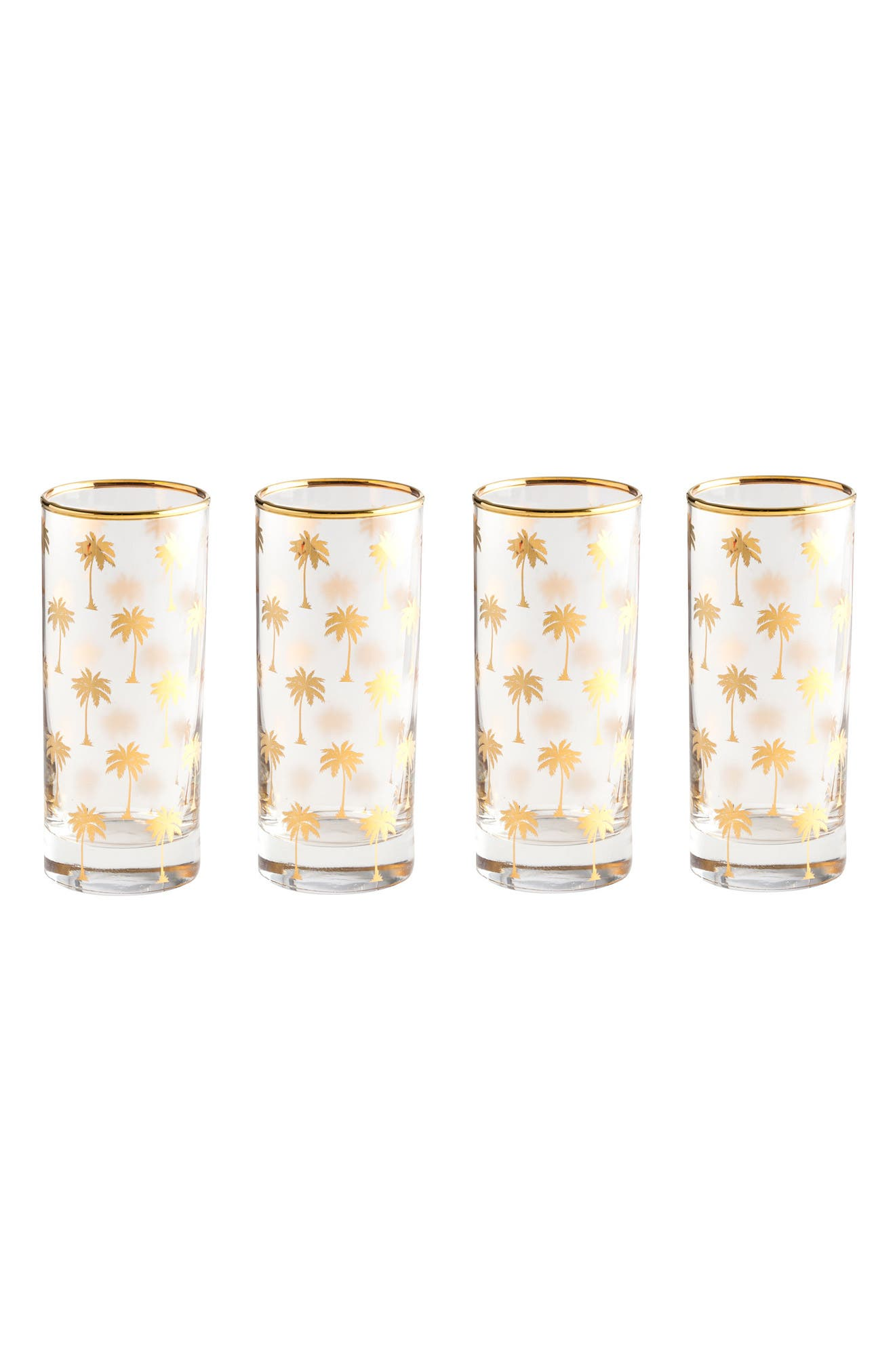 Palm Tree Set of 4 Highball Glasses,                         Main,                         color, Clear/ Gold