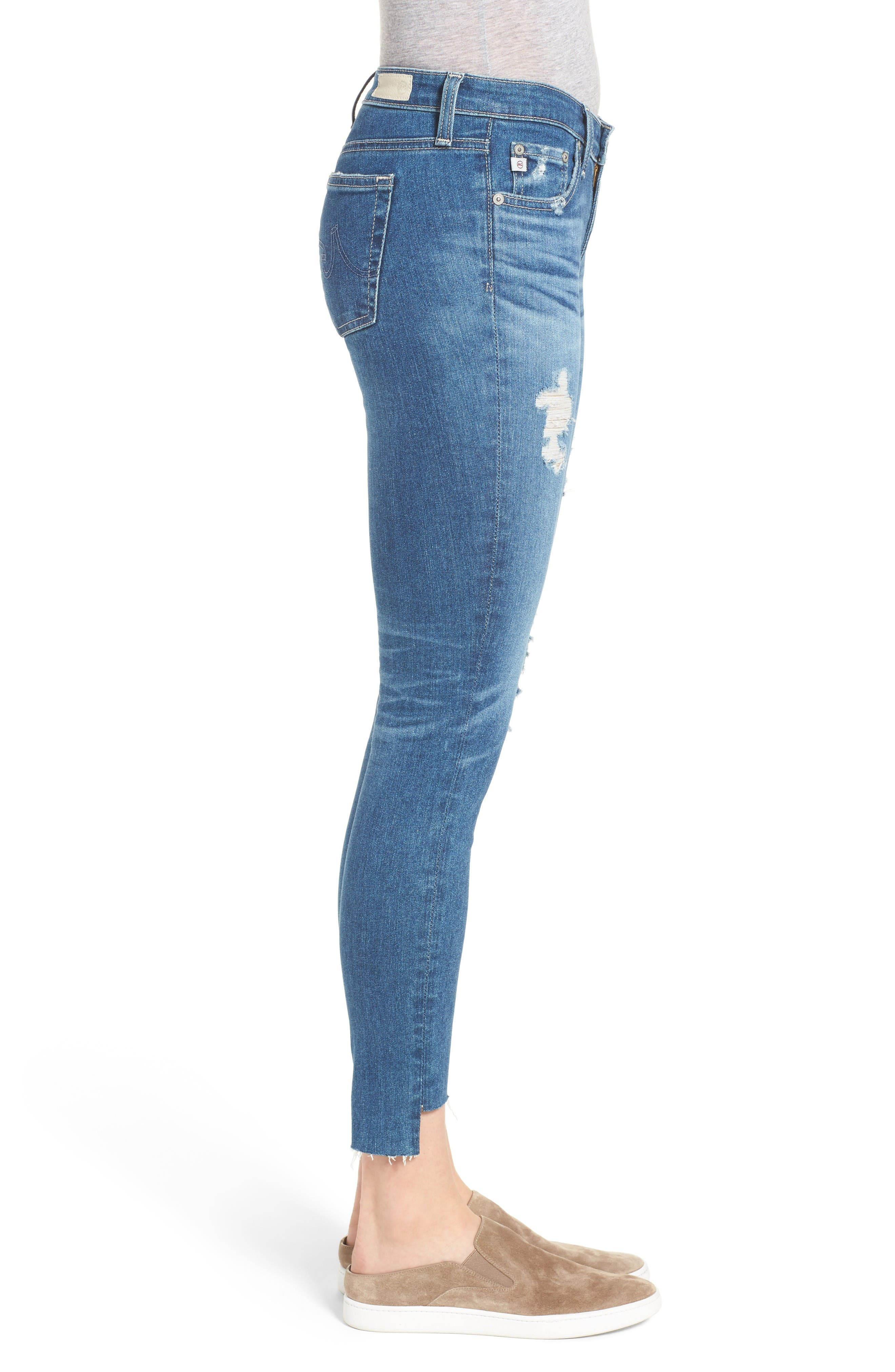 The Legging Step Hem Ankle Skinny Jeans,                             Alternate thumbnail 3, color,                             Radiant Blue