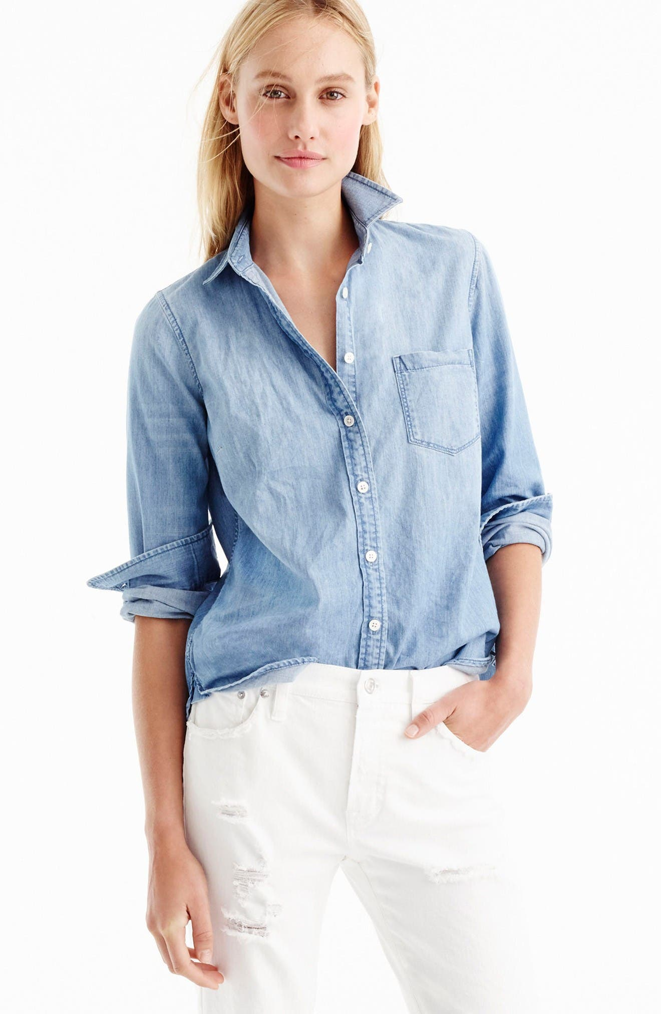 Always Chambray Shirt,                             Alternate thumbnail 8, color,                             Indigo