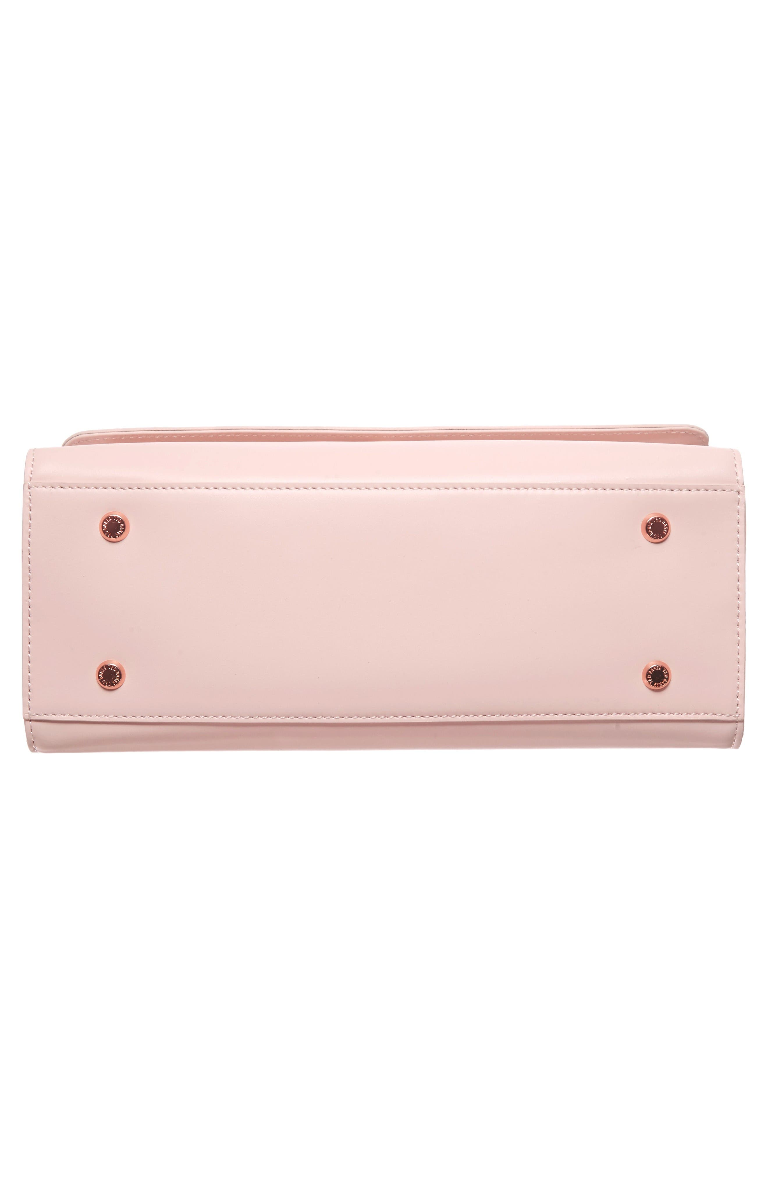 Croc Embossed Leather Satchel,                             Alternate thumbnail 6, color,                             Baby Pink