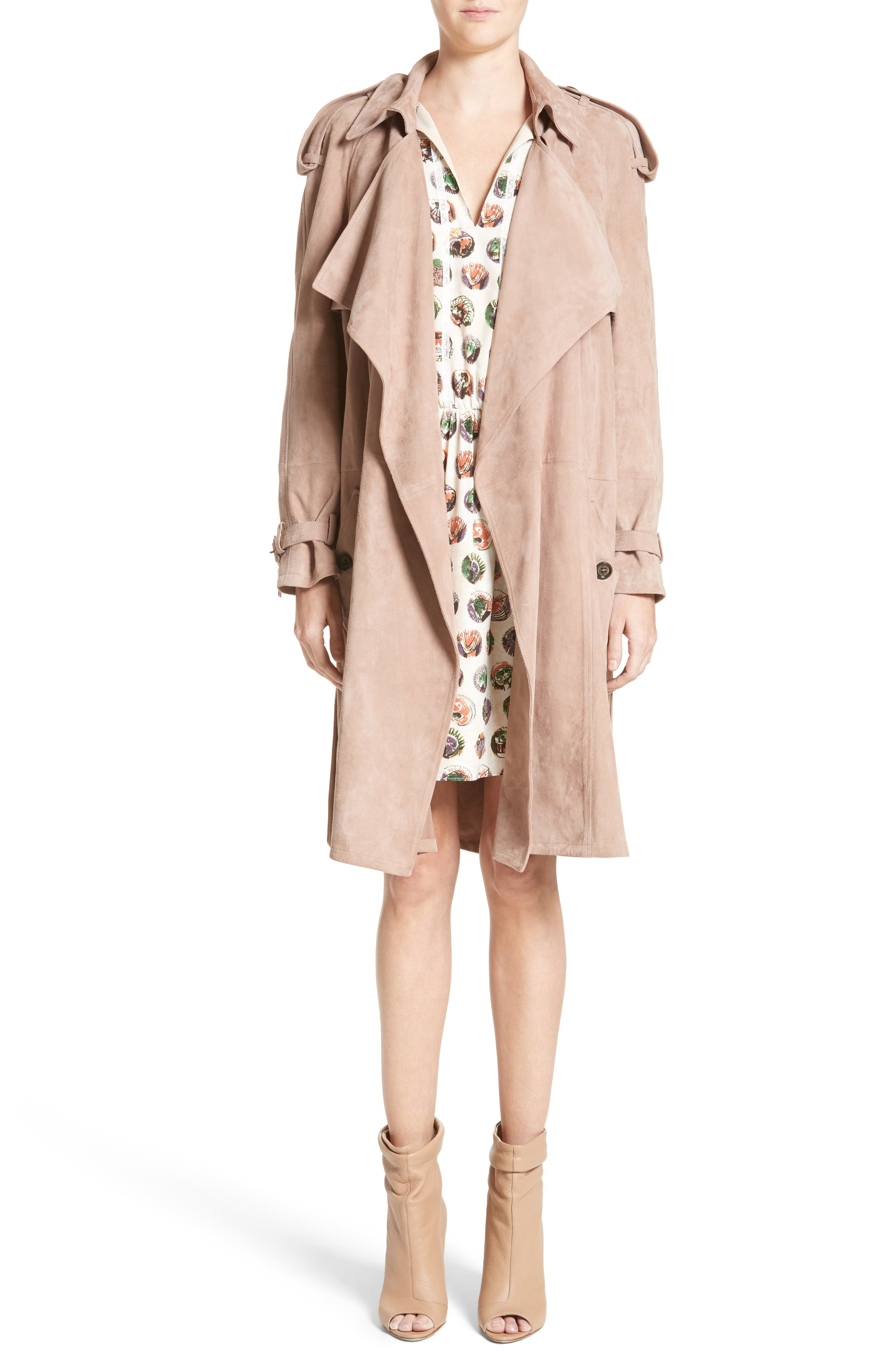 Main Image - Burberry Sanbridges Suede Wrap Trench