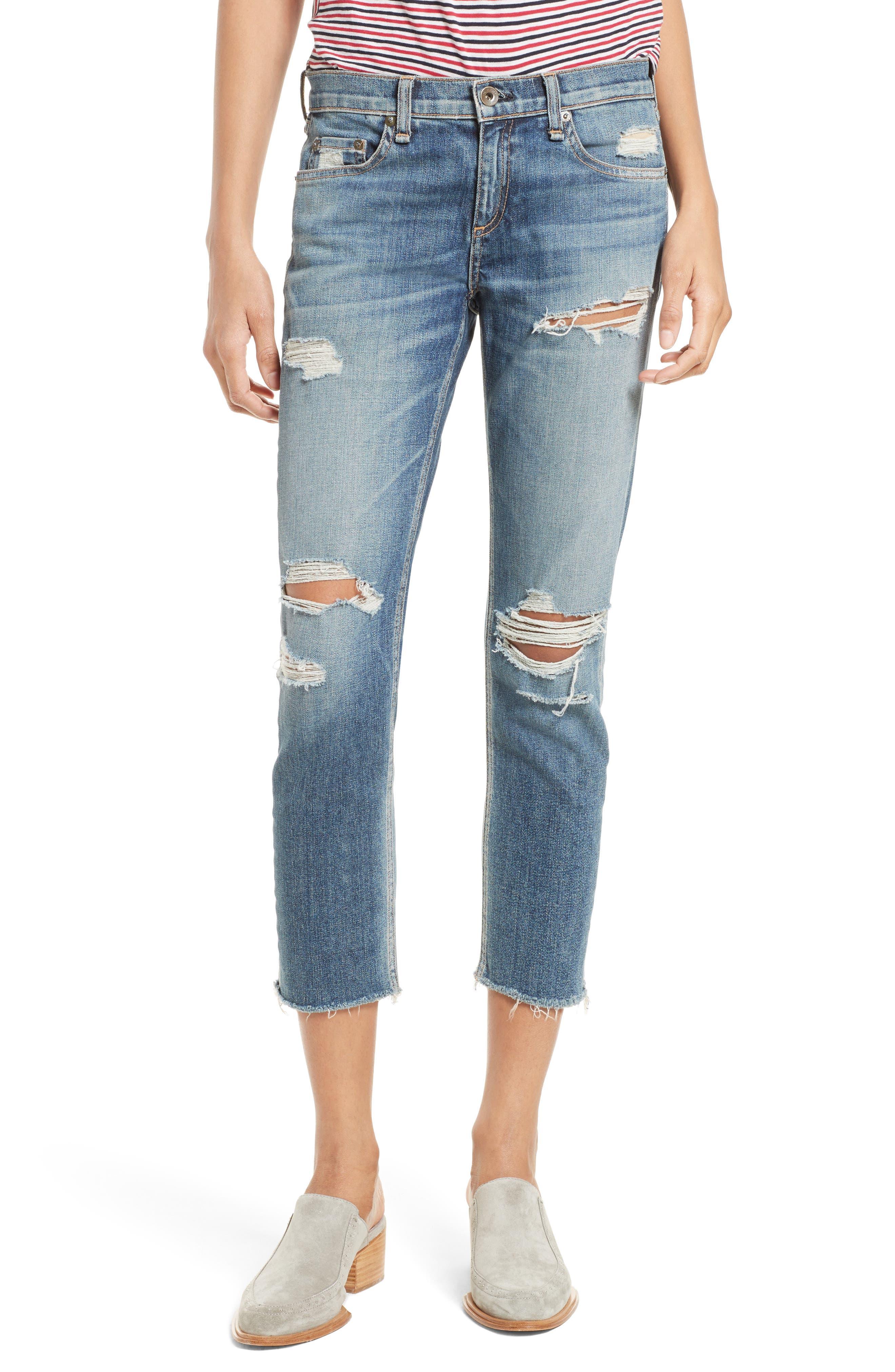 Alternate Image 1 Selected - rag & bone/JEAN The Dre Capri Slim Boyfriend Jeans (Delamo)