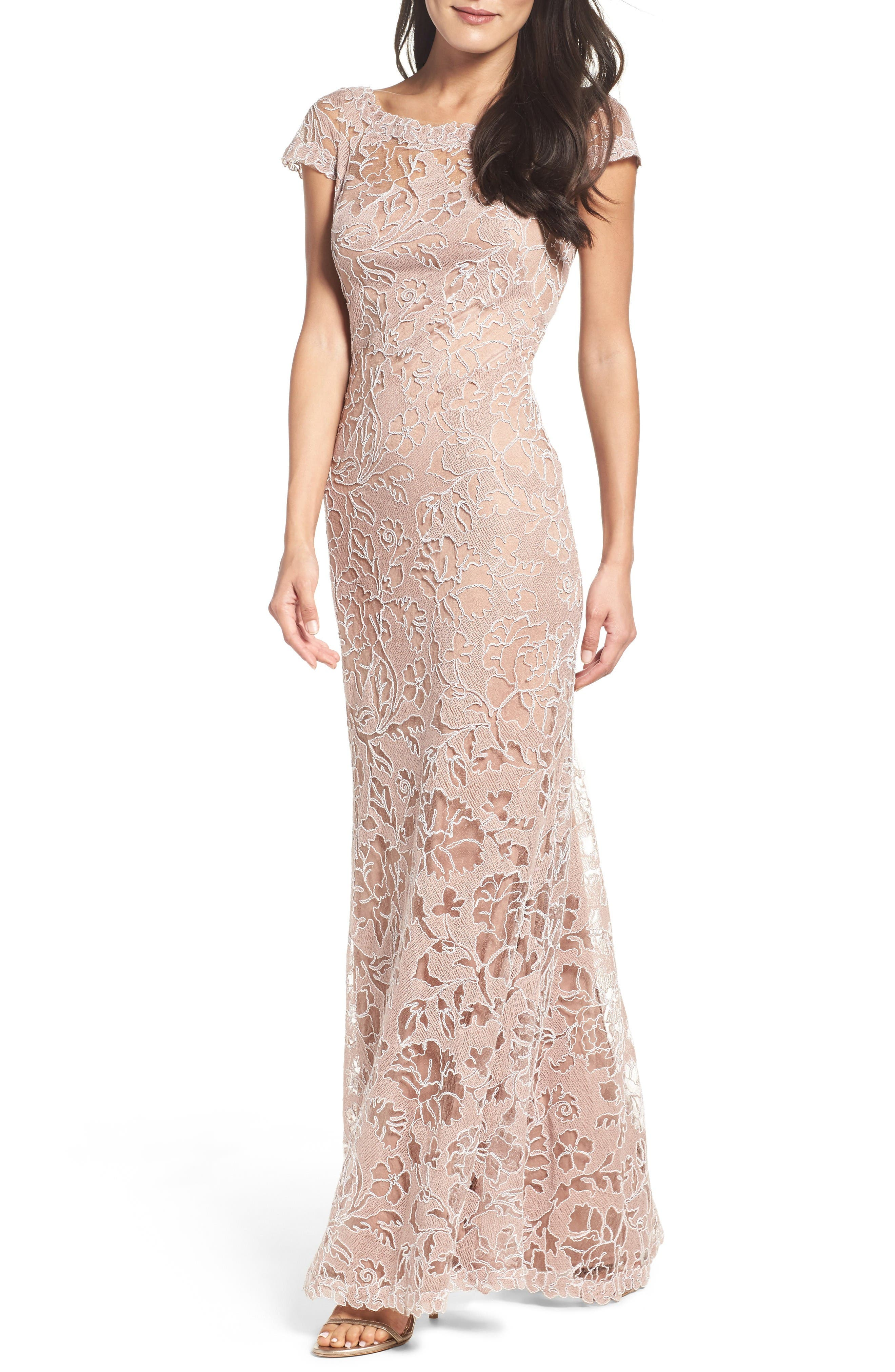 Embroidered Lace Gown,                         Main,                         color, Rose Taupe