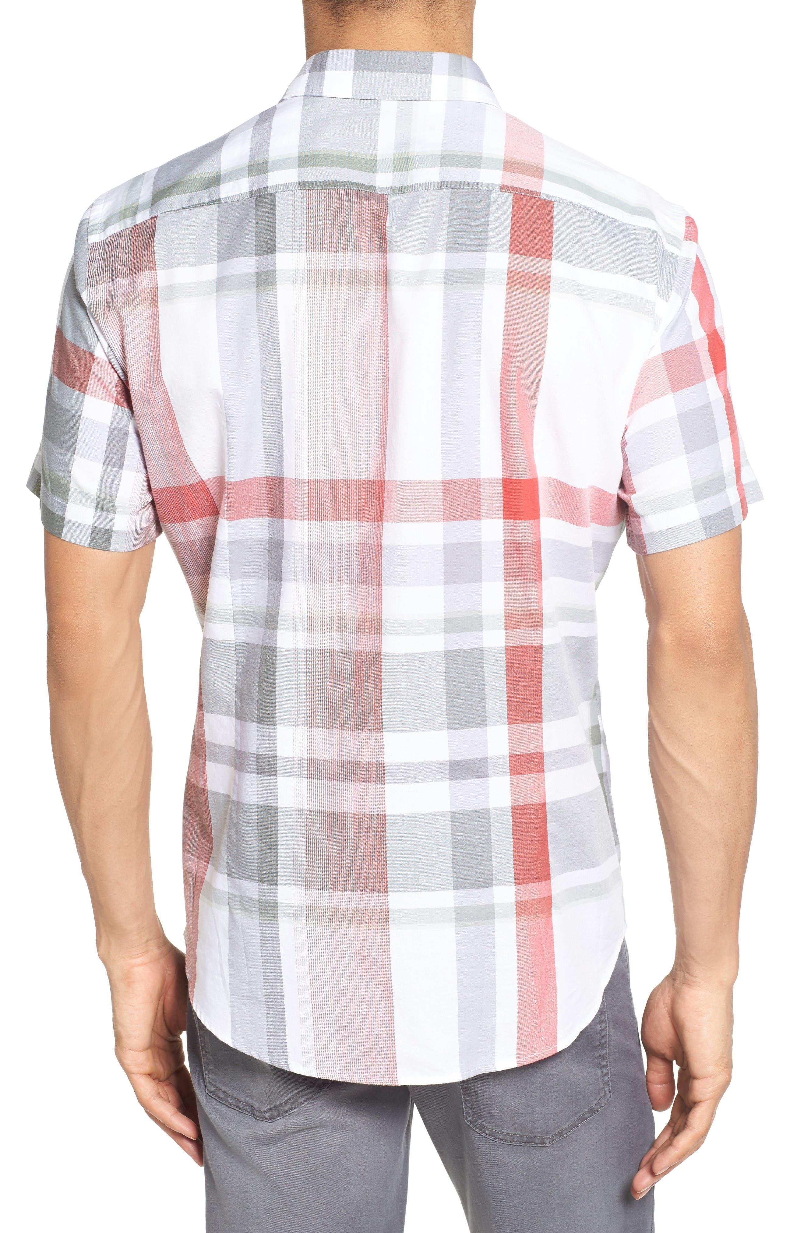 Robb Sharp Fit Plaid Sport Shirt,                             Alternate thumbnail 2, color,                             Red