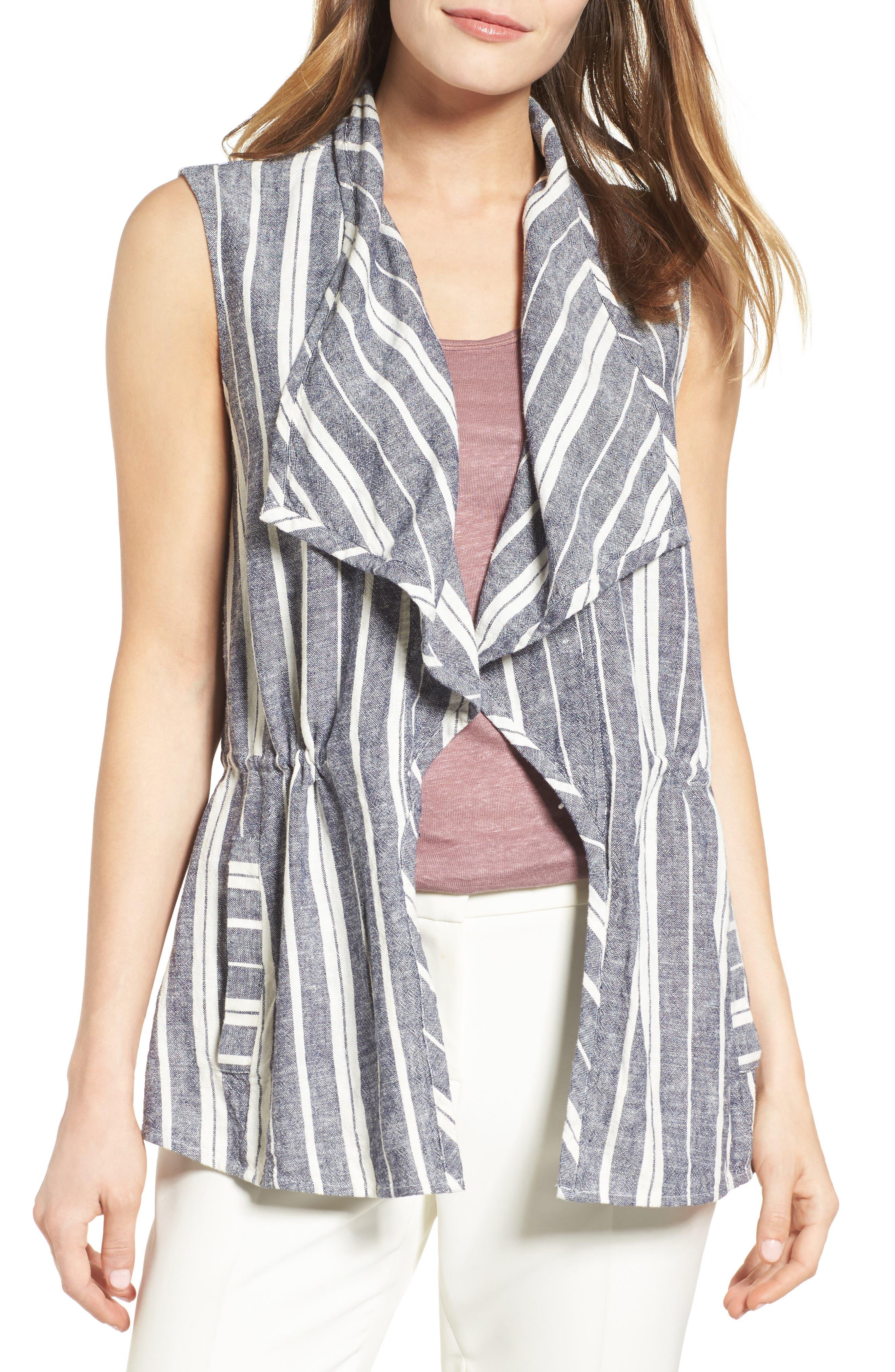 Chaus Stripe Linen Blend Vest