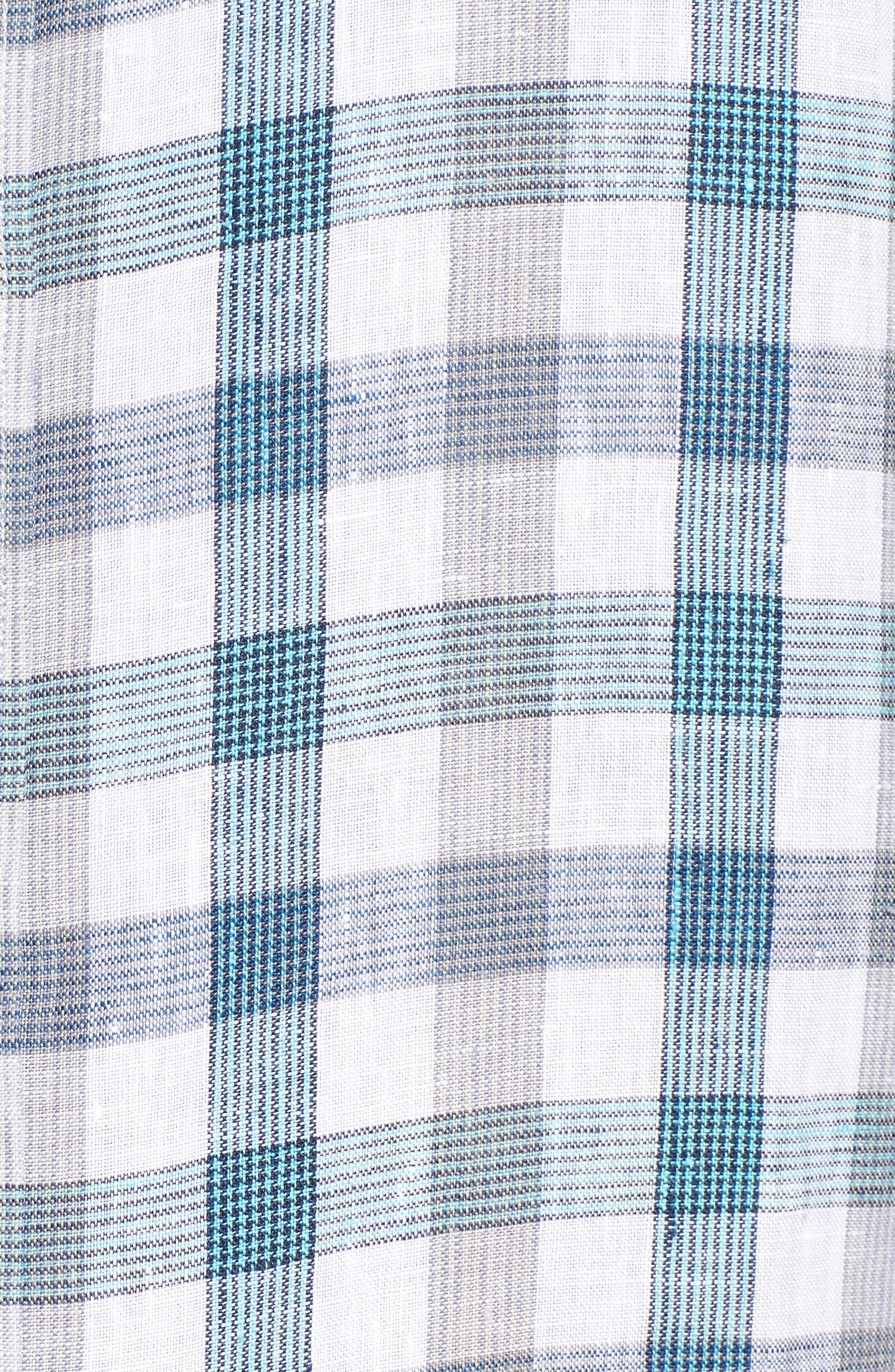 Thira Check Linen Sport Shirt,                             Alternate thumbnail 5, color,                             Download Blue