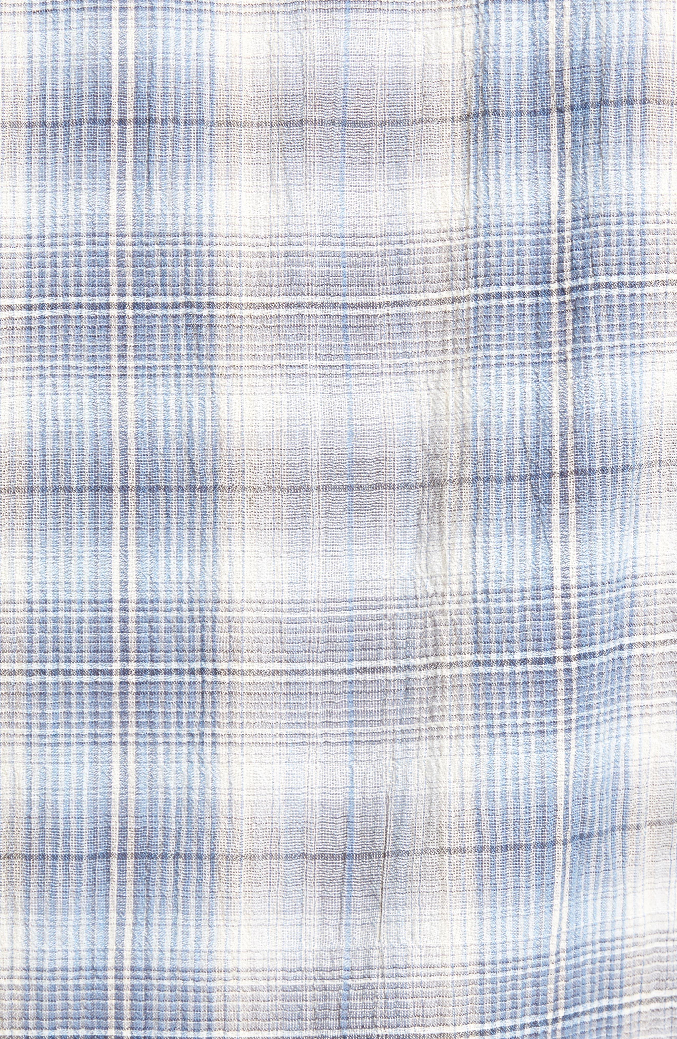 Trim Fit Plaid Sport Shirt,                             Alternate thumbnail 5, color,                             Water Blue