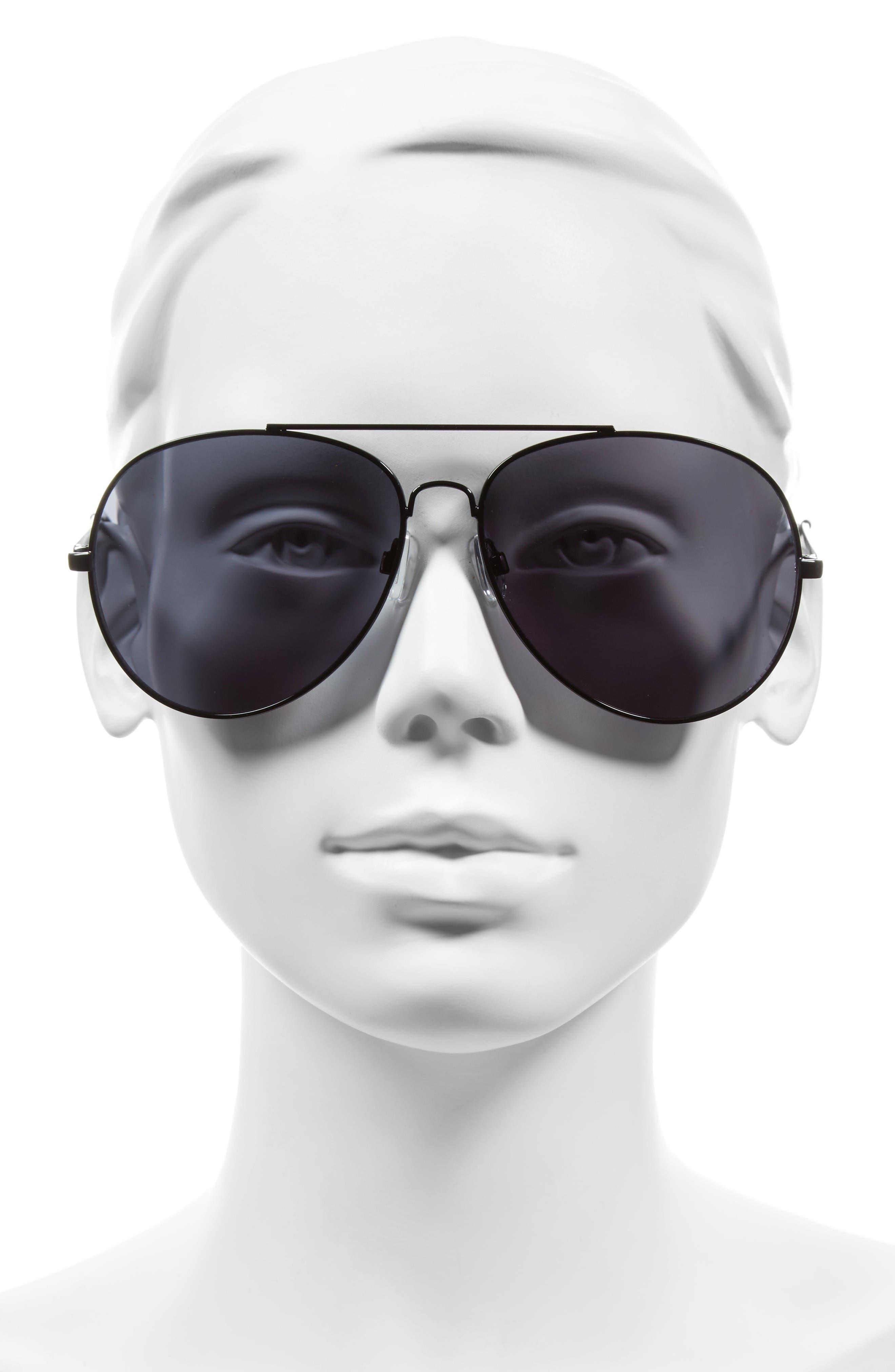 65mm Oversize Aviator Sunglasses,                             Alternate thumbnail 2, color,                             Black/ Black