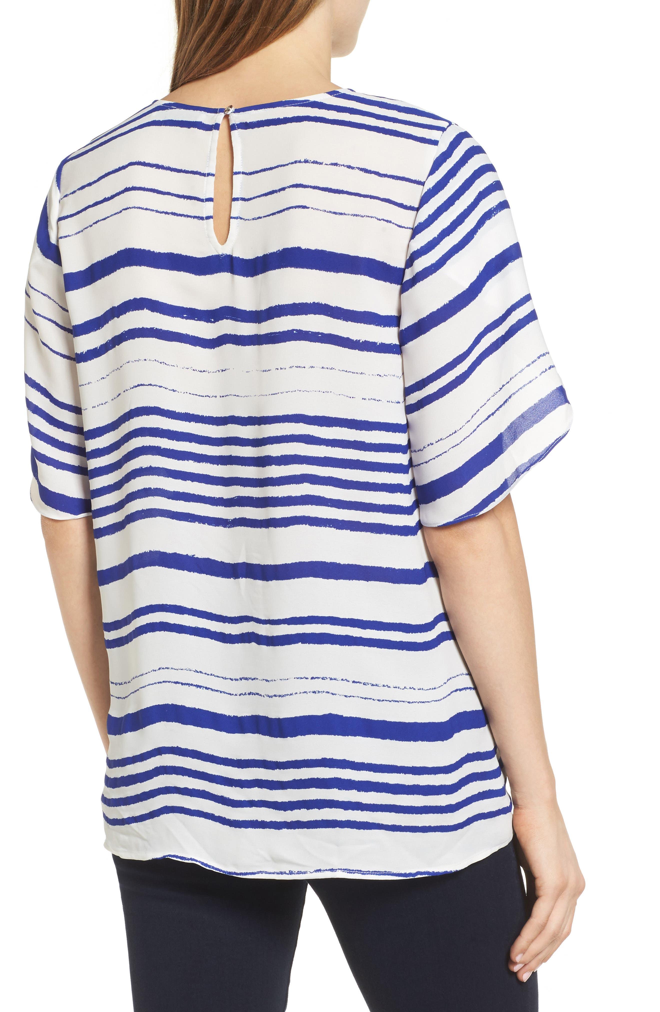 Tulip Sleeve Stripe Blouse,                             Alternate thumbnail 2, color,                             Regatta Blue